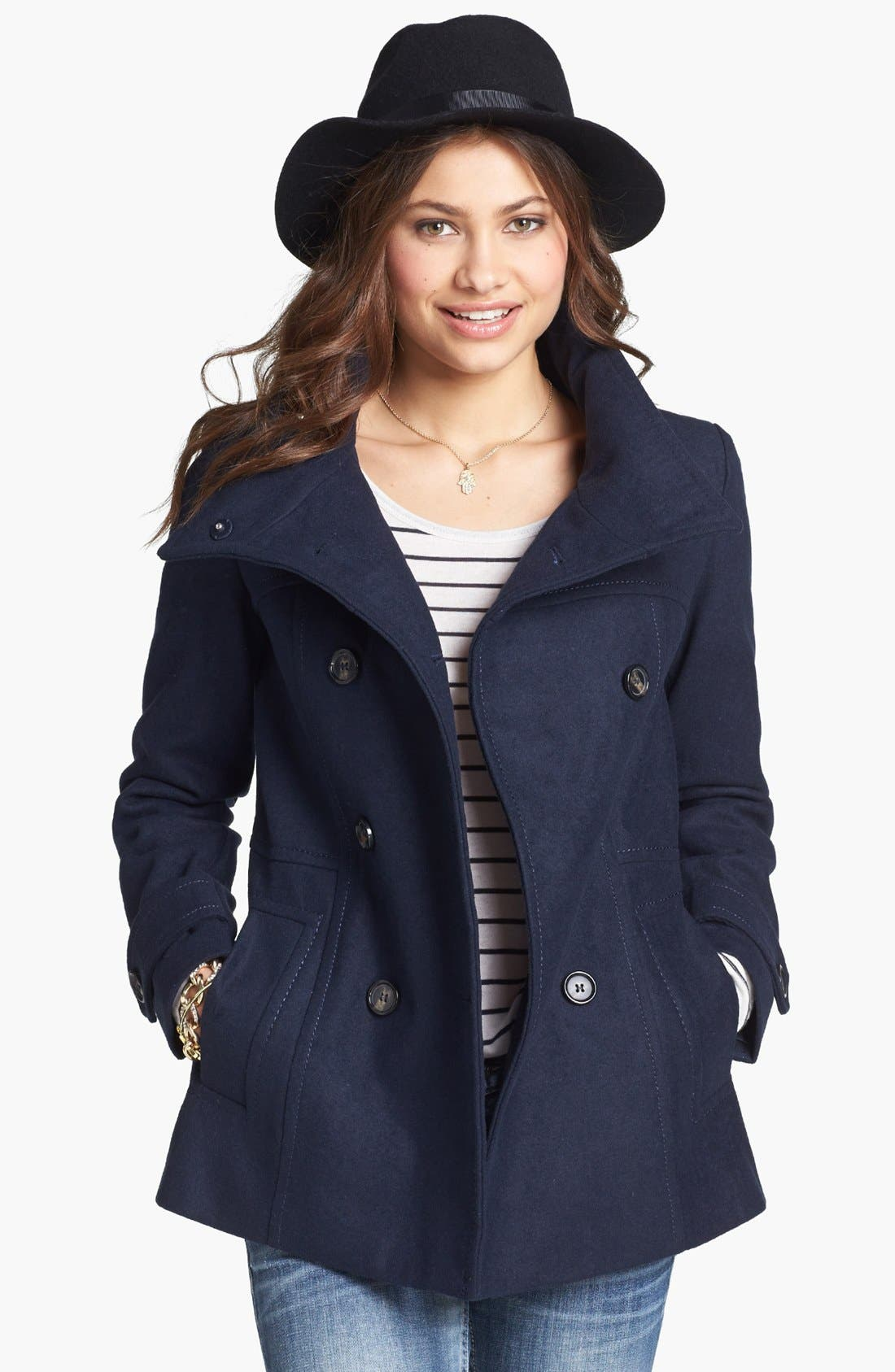 Alternate Image 1 Selected - Thread & Supply Double Breasted Peacoat (Online Only)