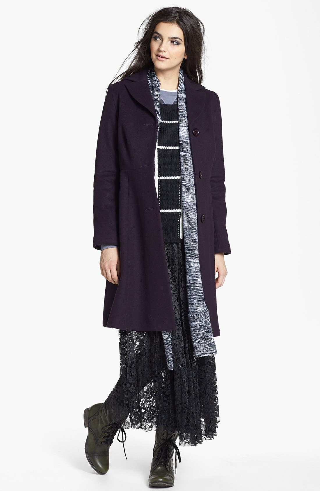 Alternate Image 4  - Kristen Blake Fit & Flare Wool Blend Coat (Nordstrom Exclusive)