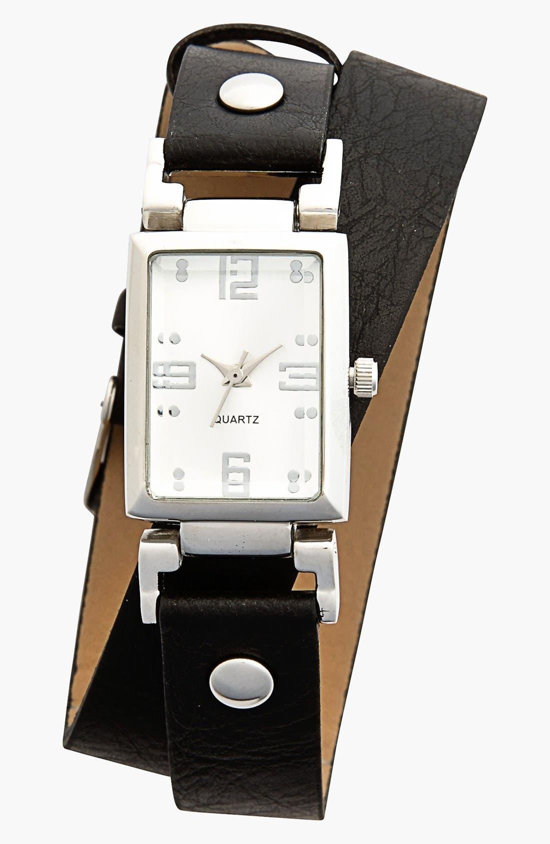 Main Image - Titanium Faux Leather Wrap Watch, 25mm (Juniors)