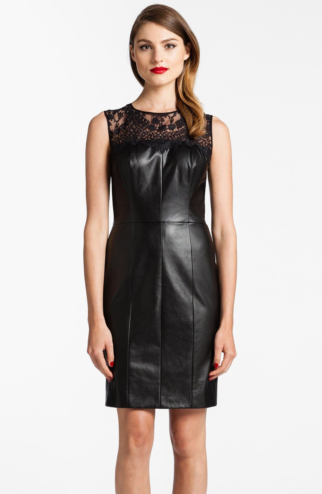 Main Image - Cynthia Steffe Illusion Yoke Faux Leather Dress