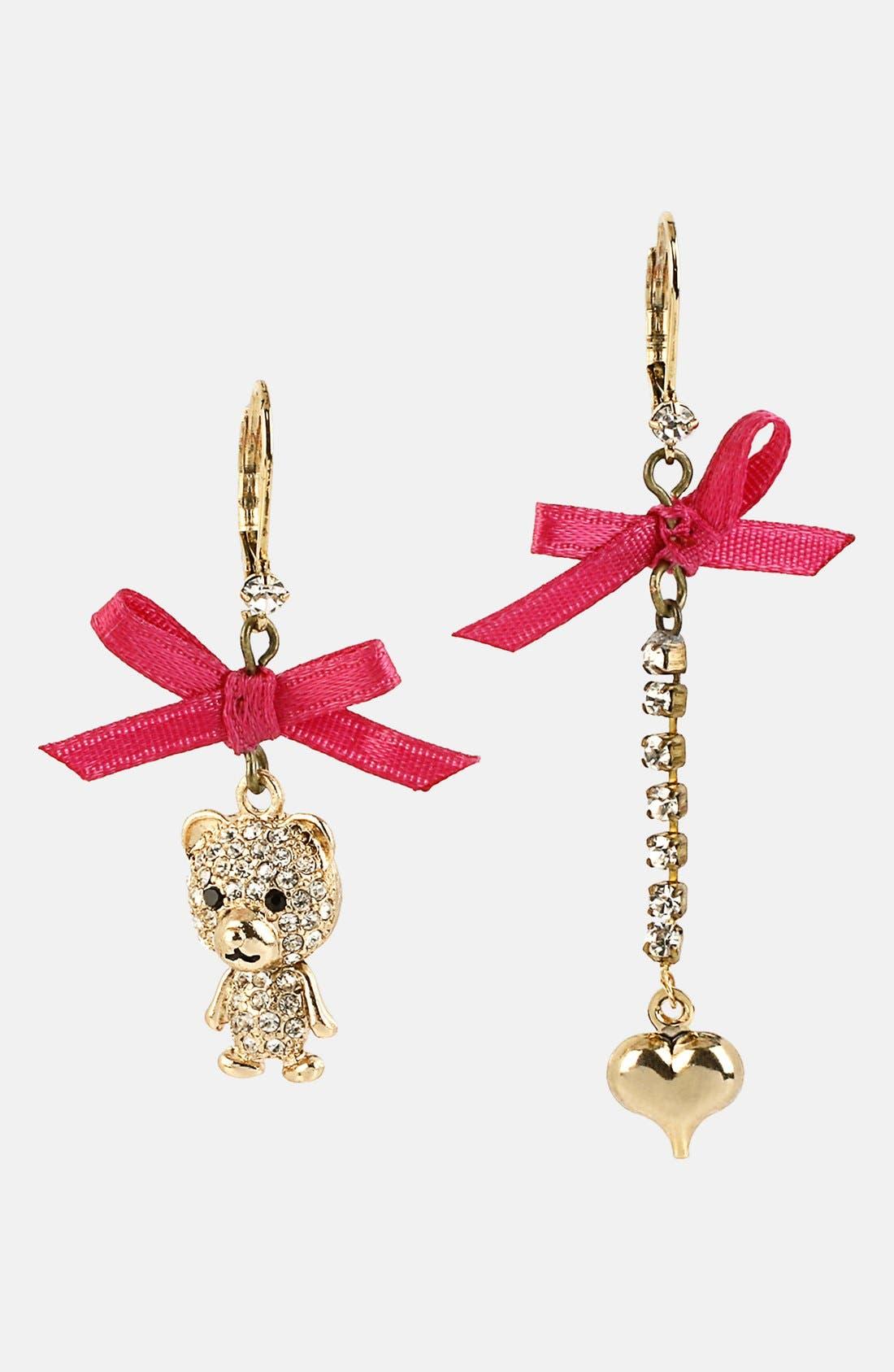 Alternate Image 1 Selected - Betsey Johnson 'Terrific Tutus' Bear & Heart Earrings
