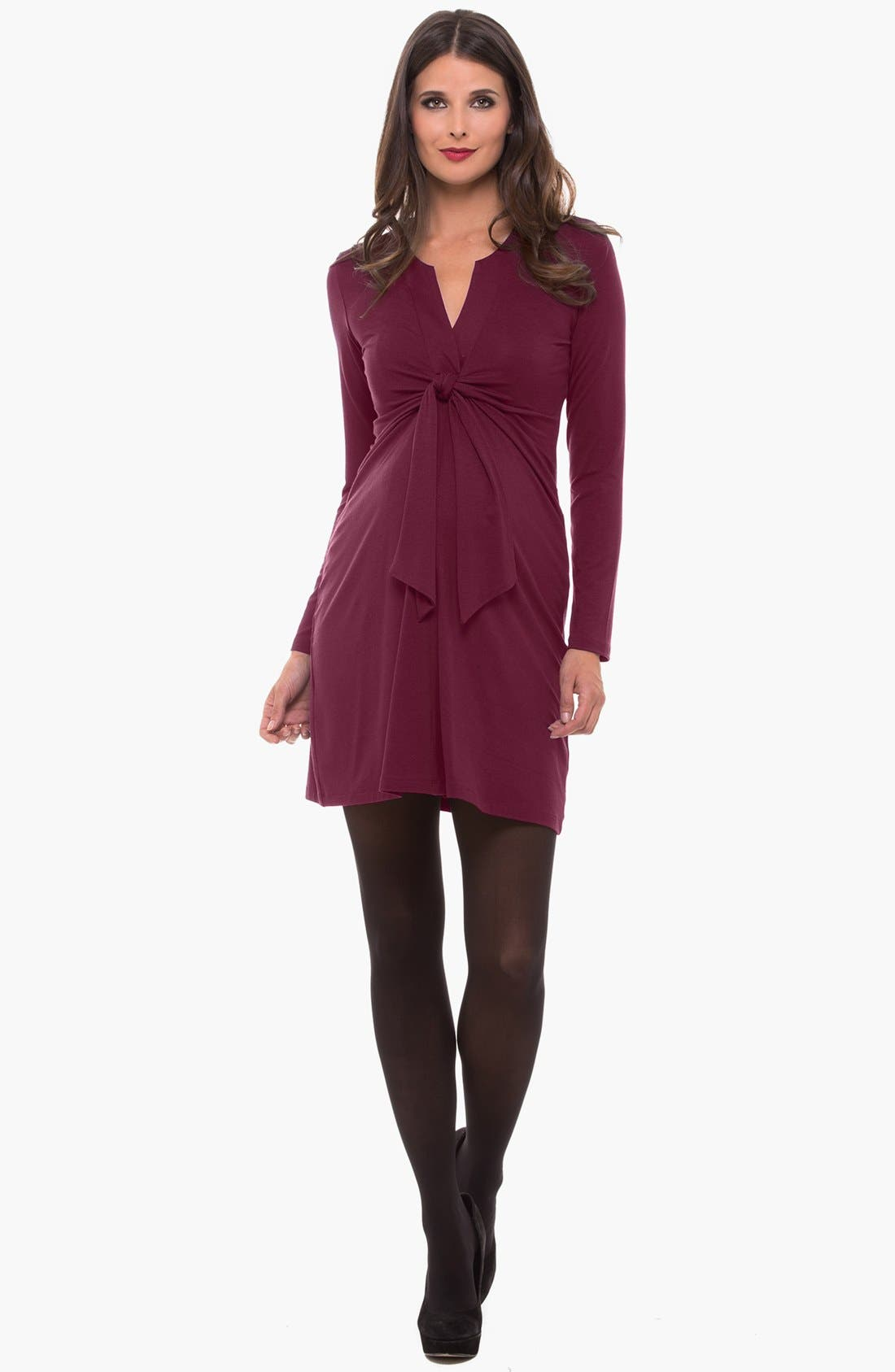 Alternate Image 1 Selected - Olian Tie Front Maternity Dress