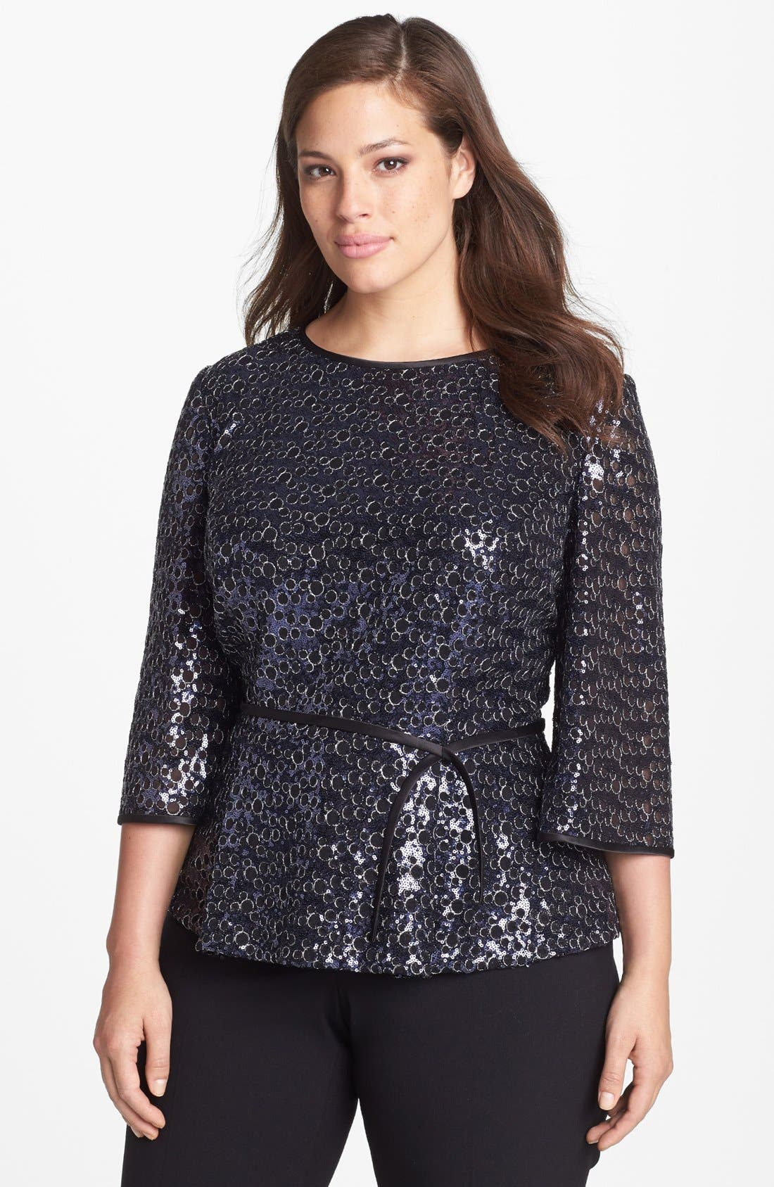 Main Image - Alex Evenings Sequin Blouse with Satin Tie (Plus Size)