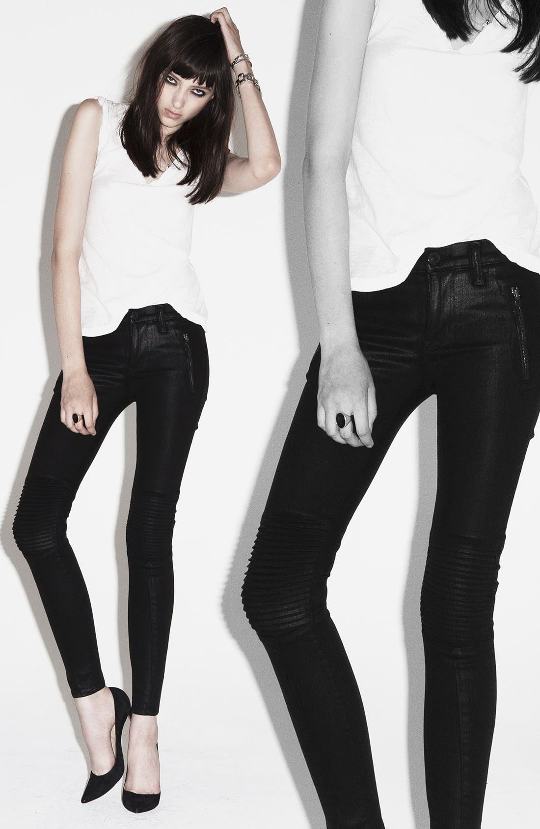 Alternate Image 4  - Hudson Jeans 'Stark' Moto Skinny Jeans (Jet Black)