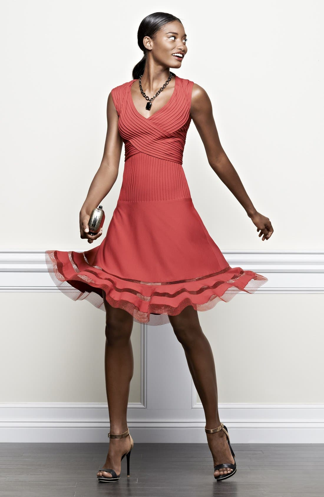 Alternate Image 4  - Tadashi Shoji V-Neck Tulle Trim Fit & Flare Dress