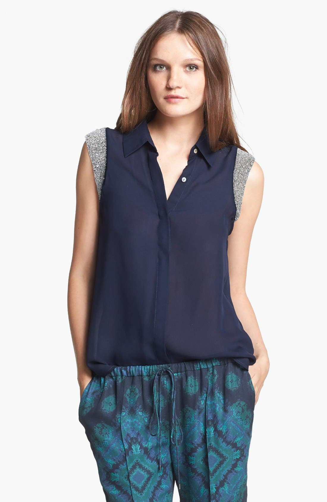 Alternate Image 1 Selected - Haute Hippie Embellished Sleeve Silk Blouse