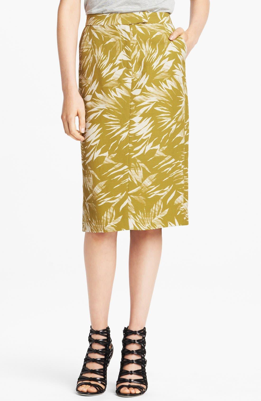 Main Image - Jason Wu Botanical Print Linen Crepe Skirt