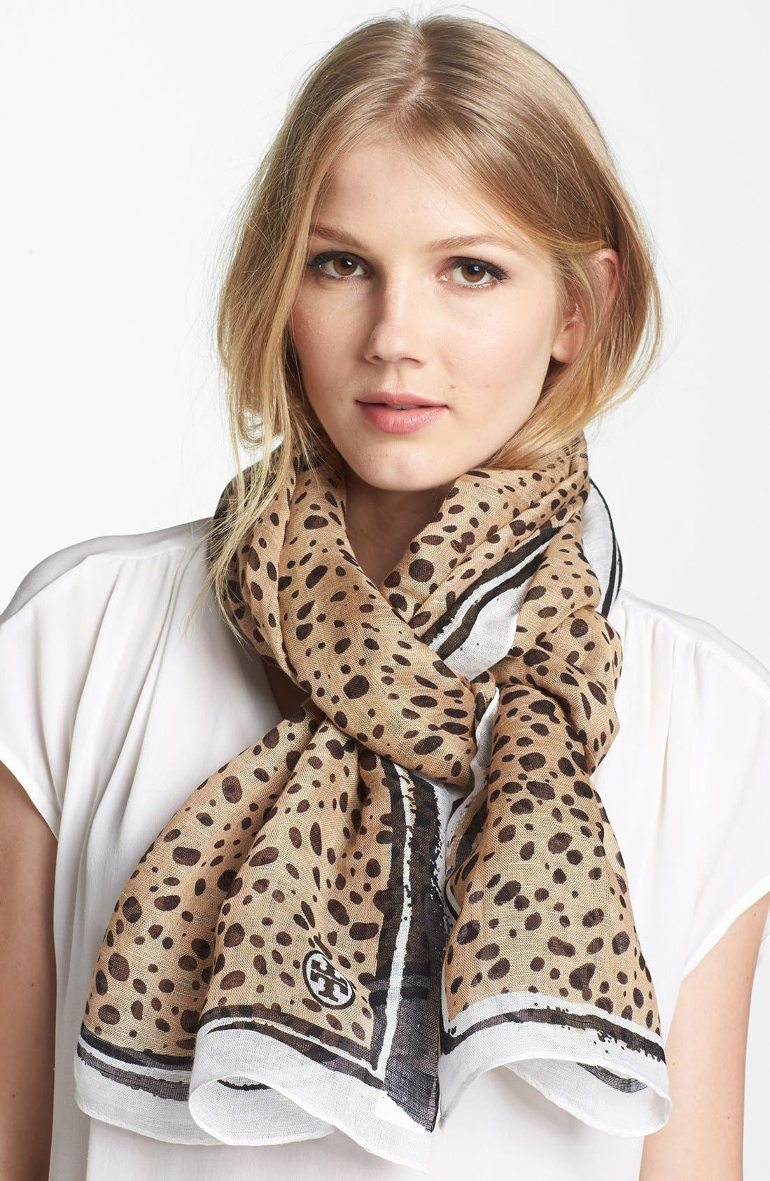Main Image - Tory Burch Animal Print Brushstroke Scarf