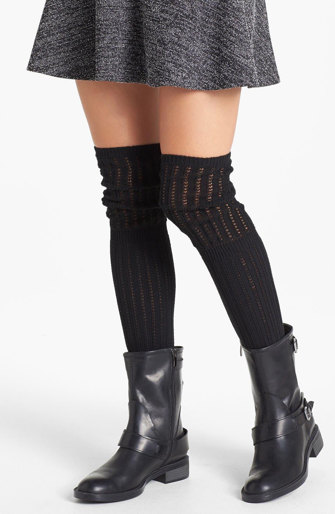 Main Image - Hue 'Crochet Slouch' Over the Knee Socks