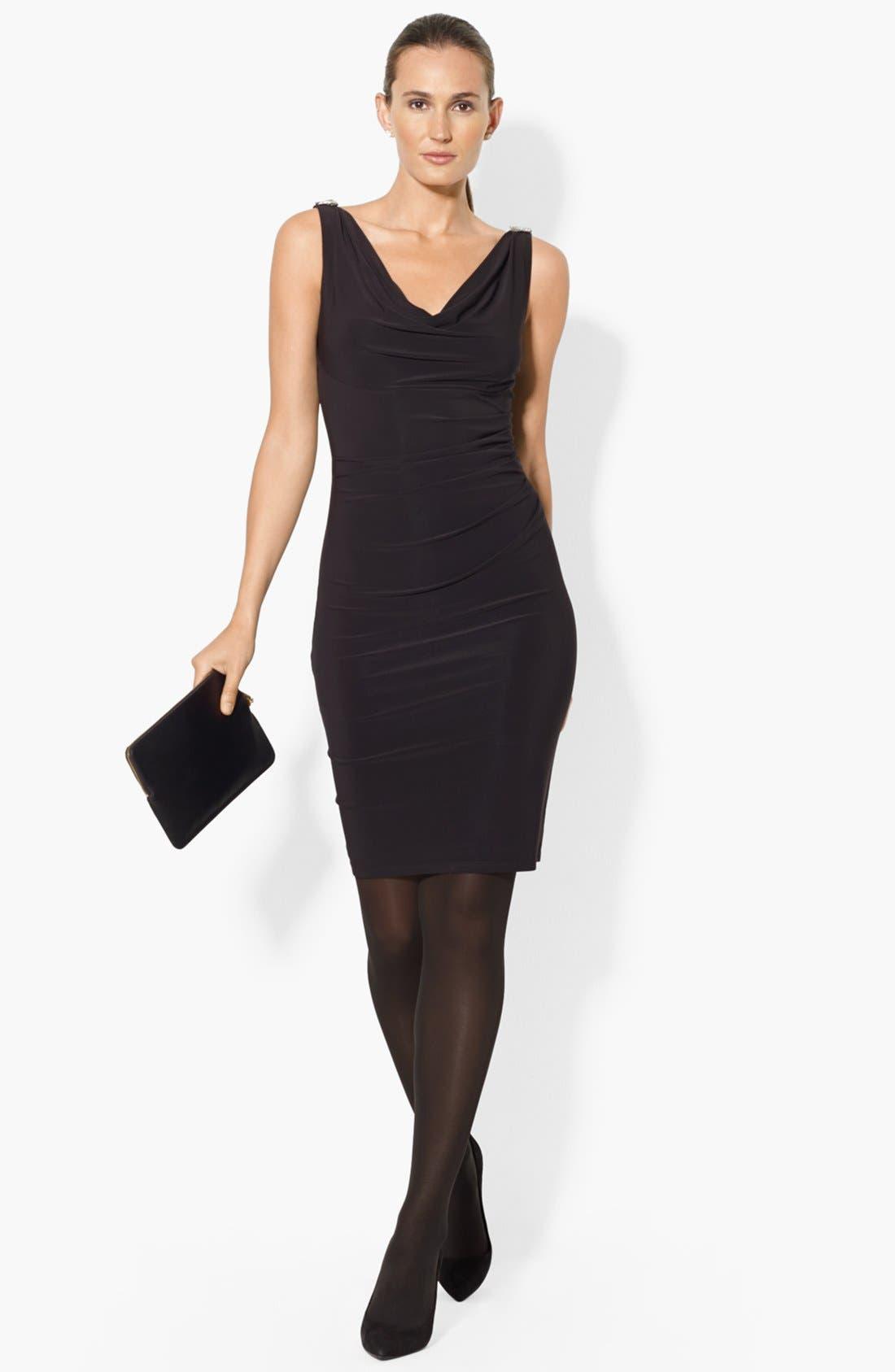 Main Image - Lauren Ralph Lauren Cowl Neck Jersey Sheath Dress