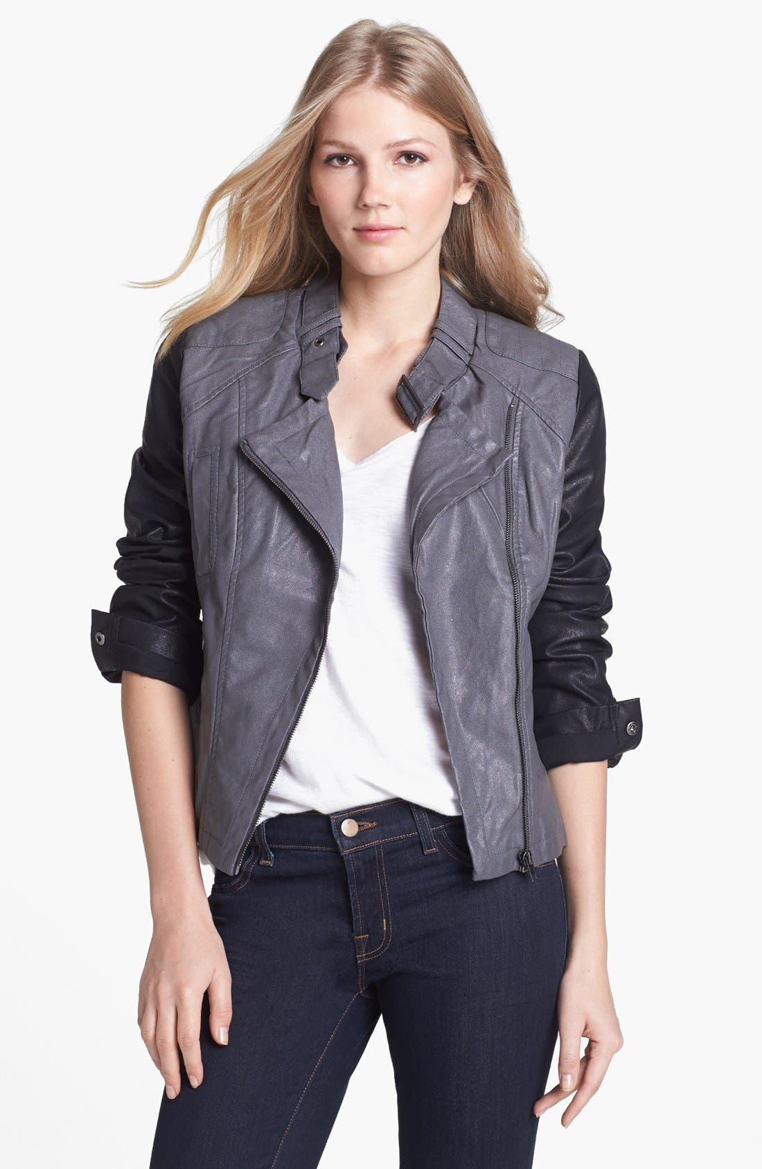 Main Image - KUT from the Kloth Contrast Sleeve Faux Leather Jacket