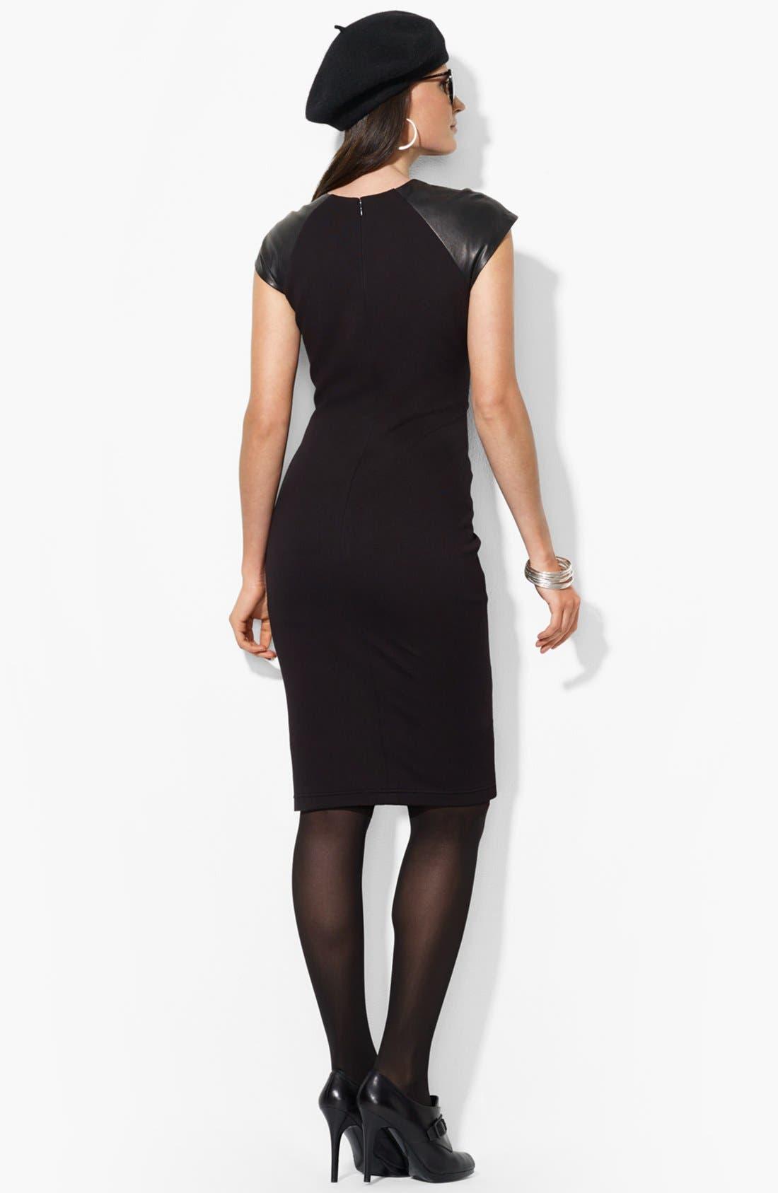 Alternate Image 2  - Lauren Ralph Lauren Leather Cap Sleeve Dress