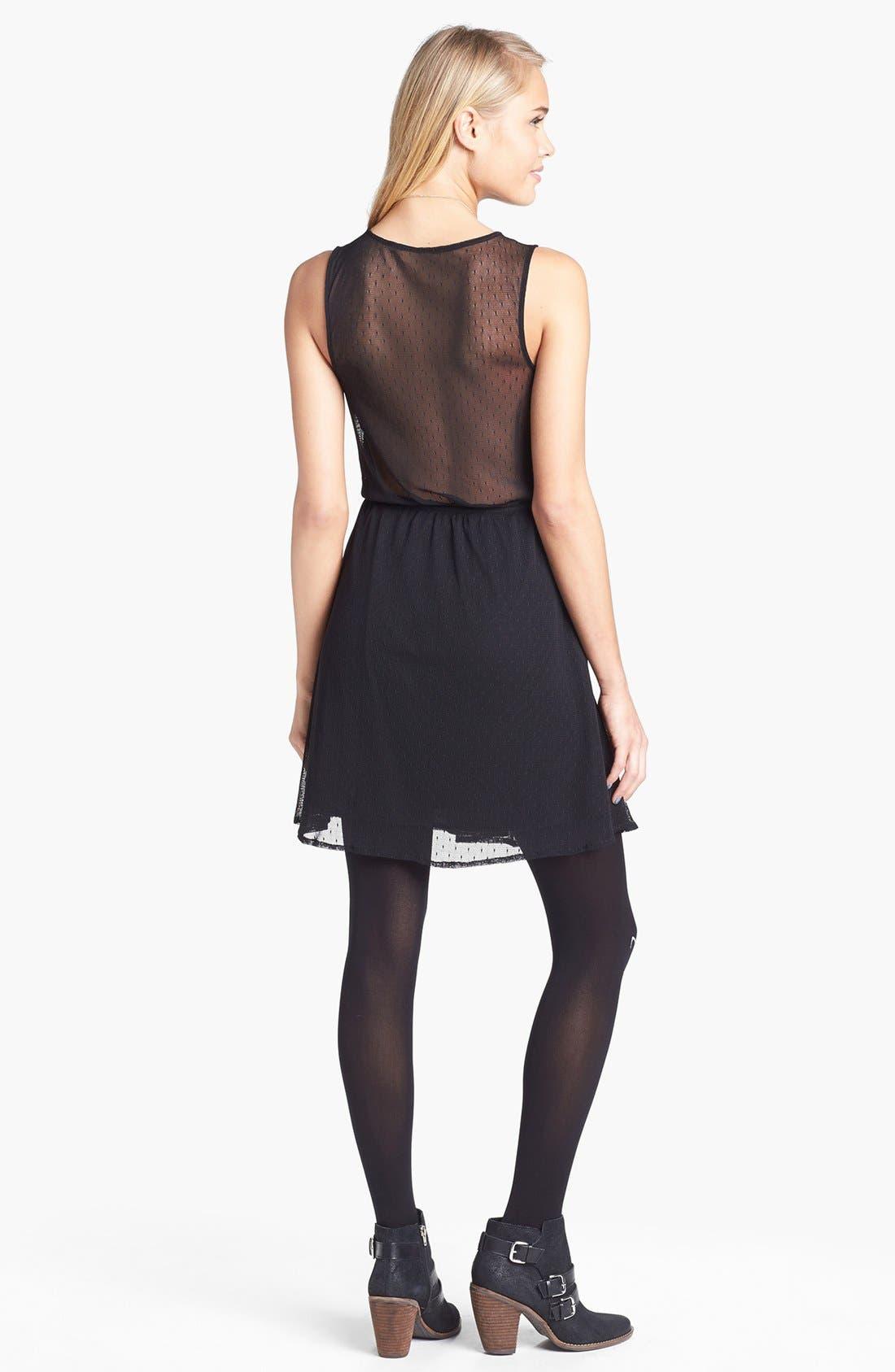 Alternate Image 2  - Frenchi® Sheer Back Swiss Dot Skater Dress (Juniors)