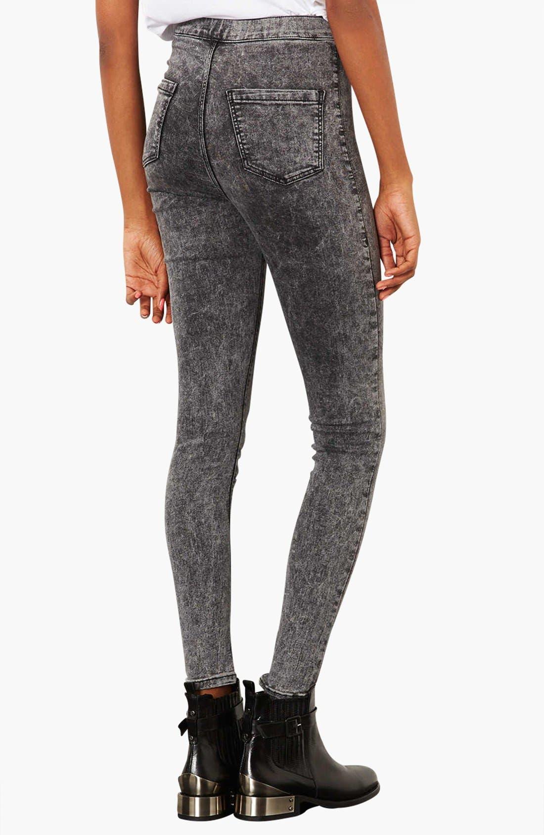 Alternate Image 2  - Topshop Moto 'Joni' Acid Wash High Rise Skinny Jeans (Black) (Regular, Short & Long)