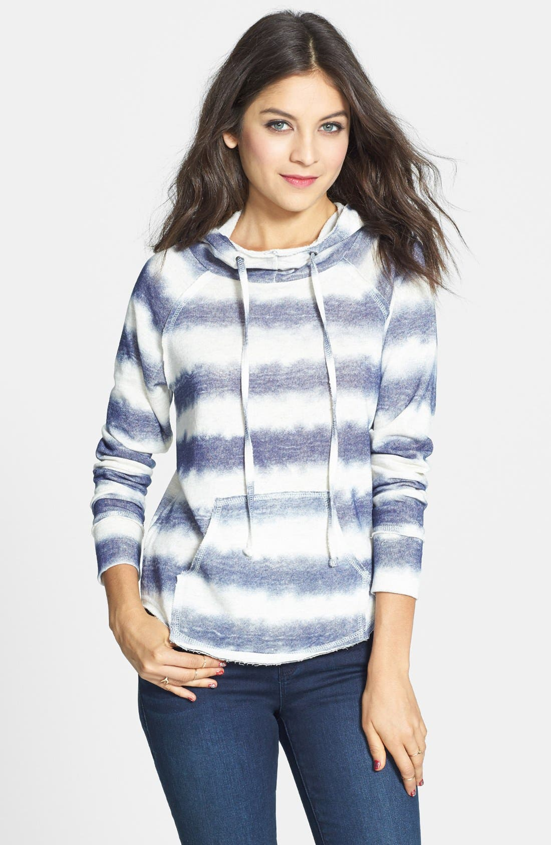 Alternate Image 1 Selected - Love on a Hanger Stripe Cotton Hoodie (Juniors)