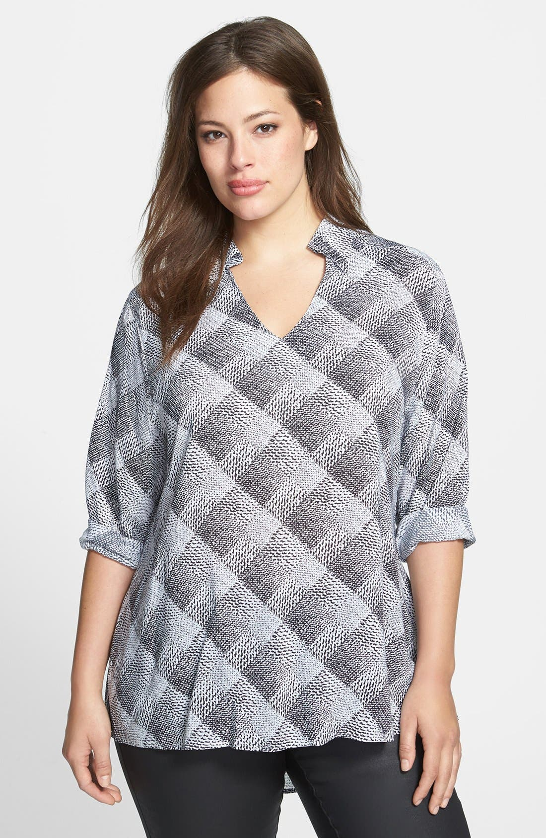 Alternate Image 1 Selected - Foxcroft 'Distressed Plaid' Tunic (Plus Size)