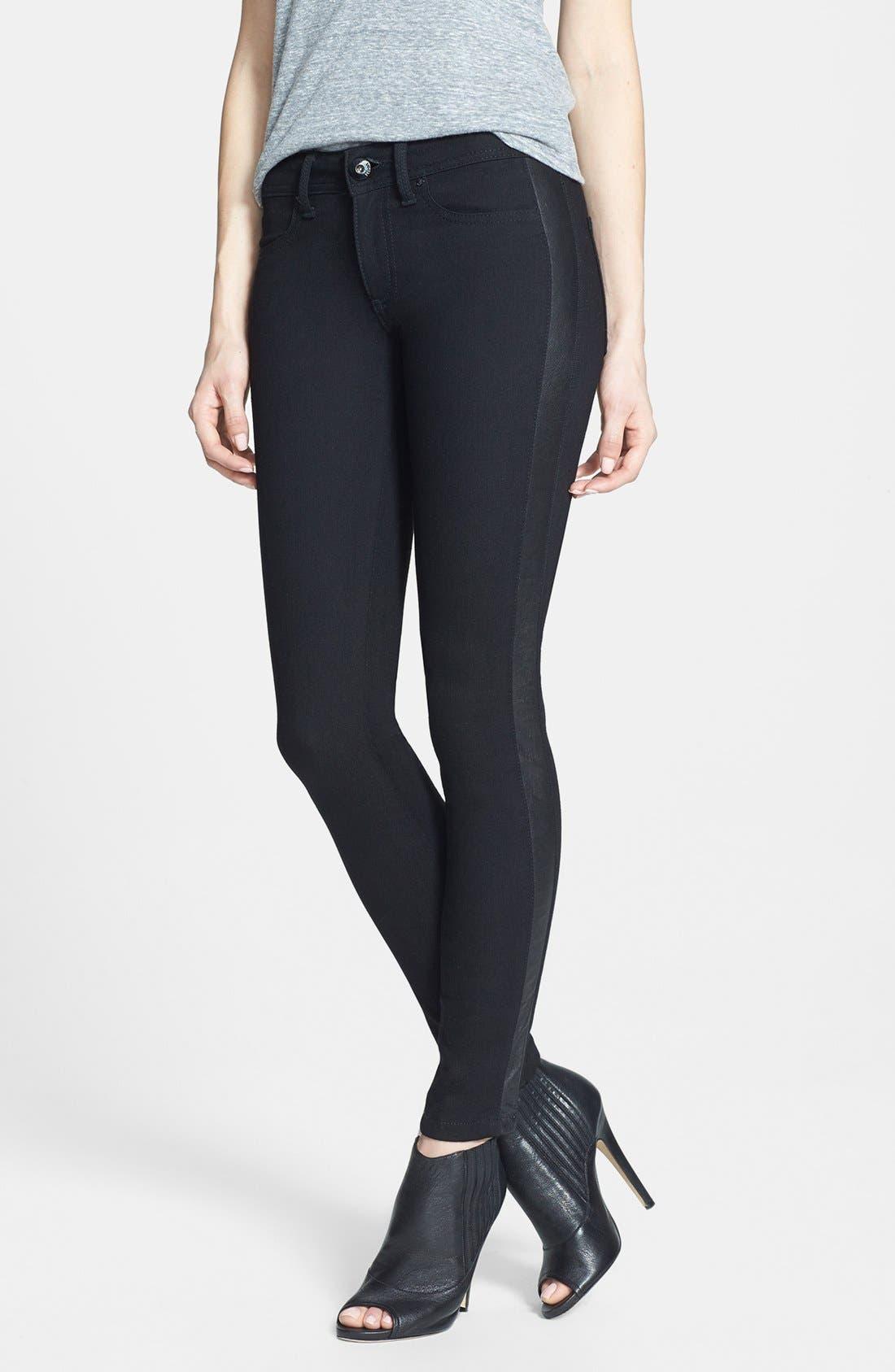 Main Image - DL1961 'Emma' Leather Tuxedo Stripe Skinny Jeans (Ravenna)