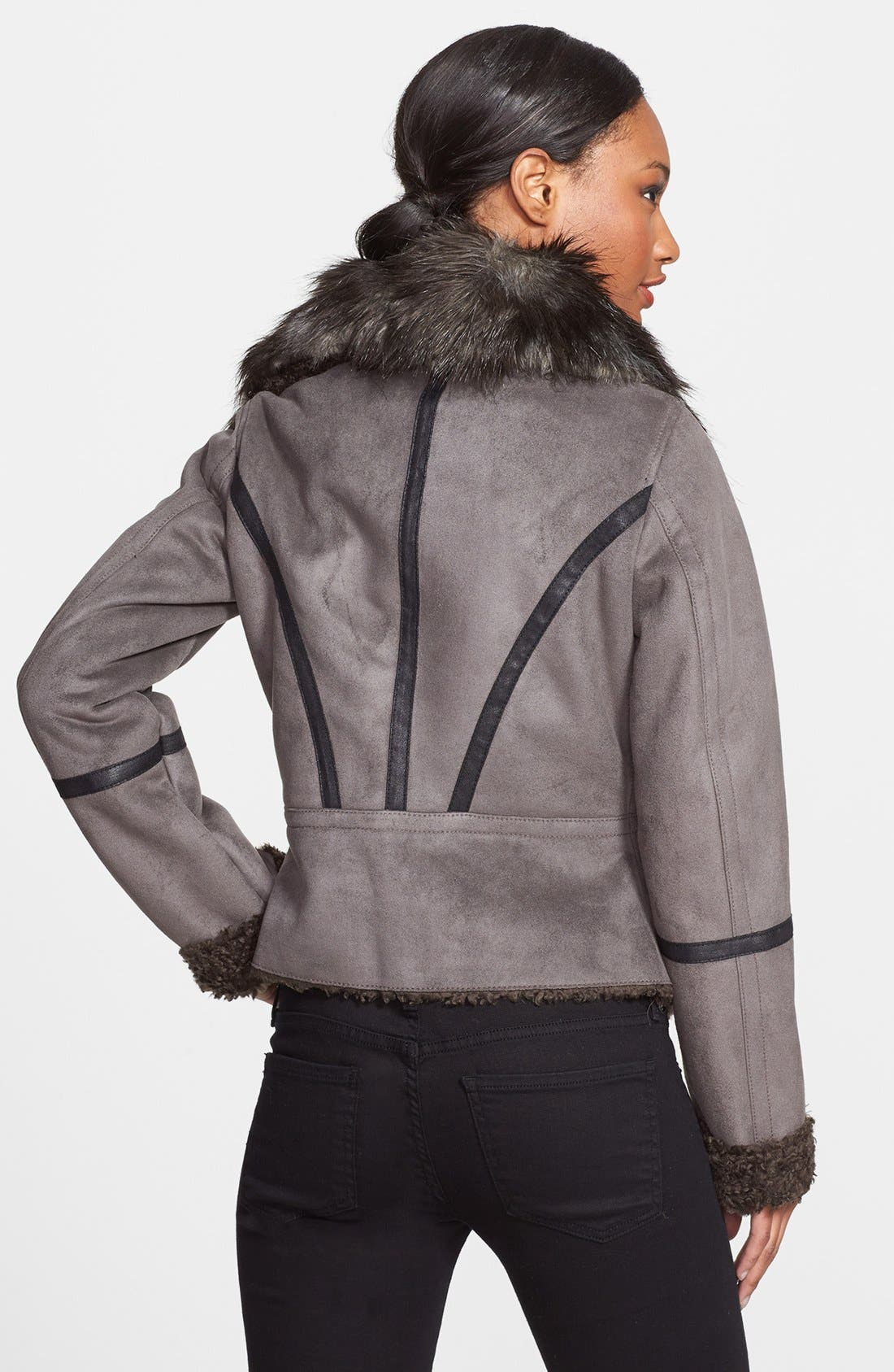 Alternate Image 2  - Laundry by Shelli Segal Faux Shearling Asymmetrical Jacket (Online Only)