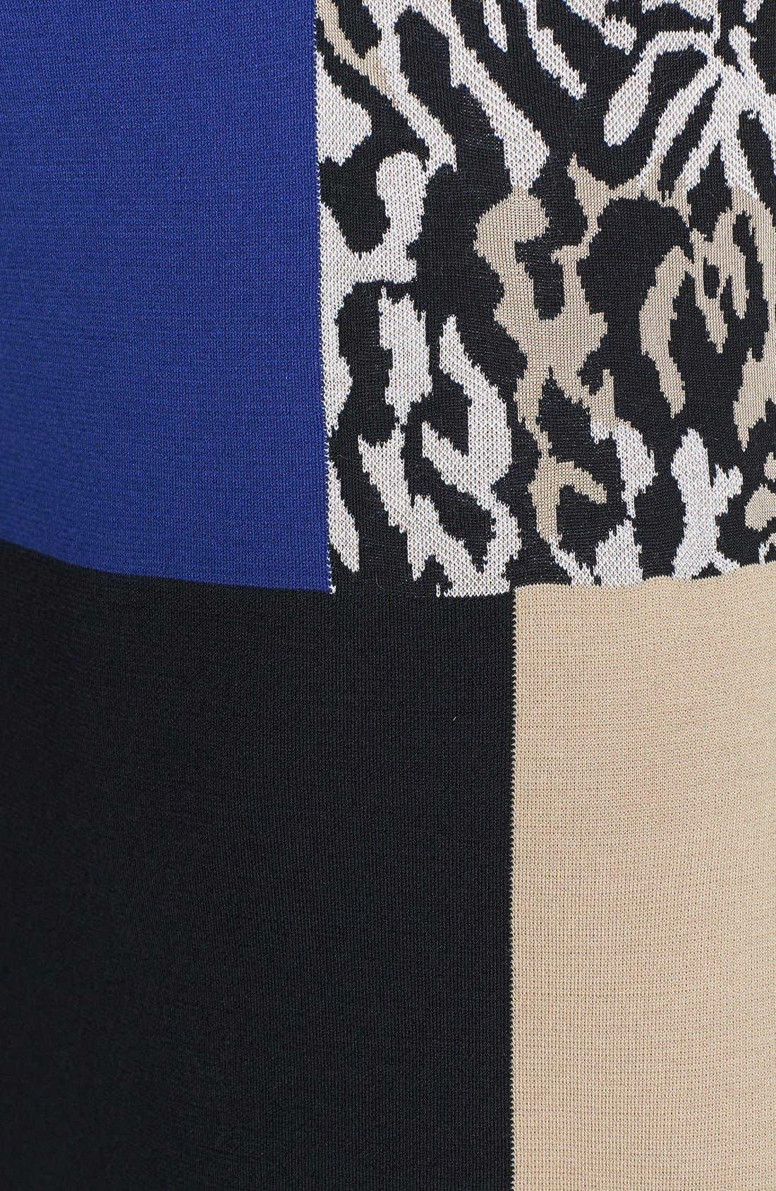 Alternate Image 3  - St. John Collection Leopard Panel Colorblock Milano Knit Dress