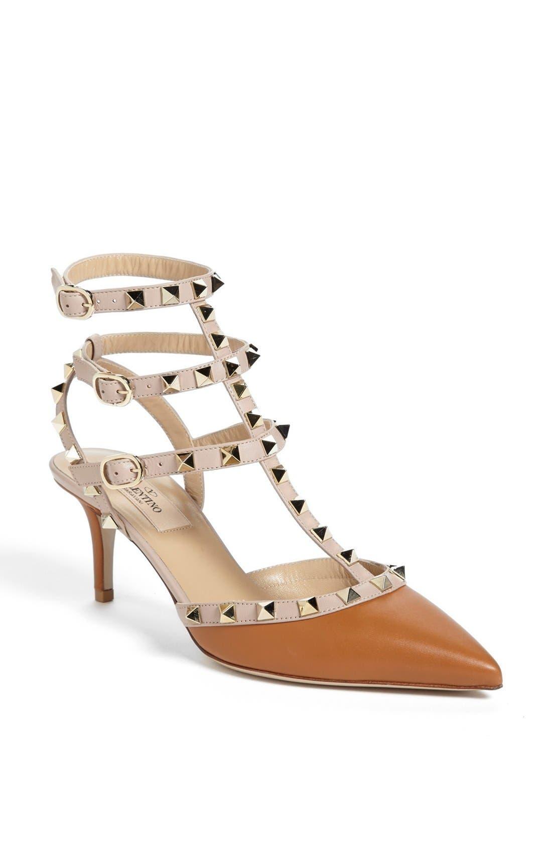 Main Image - Valentino 'Rockstud' Triple Ankle Strap Pump