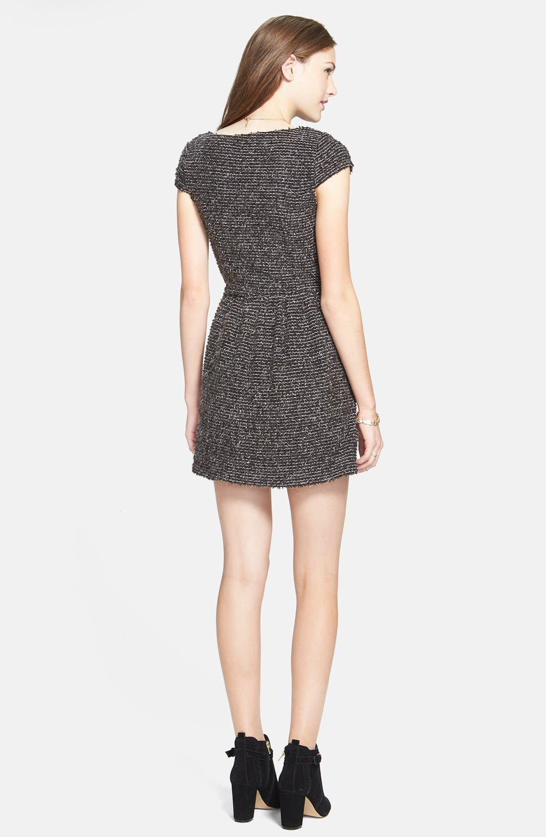 Alternate Image 2  - Socialite Textured Skater Dress (Juniors)