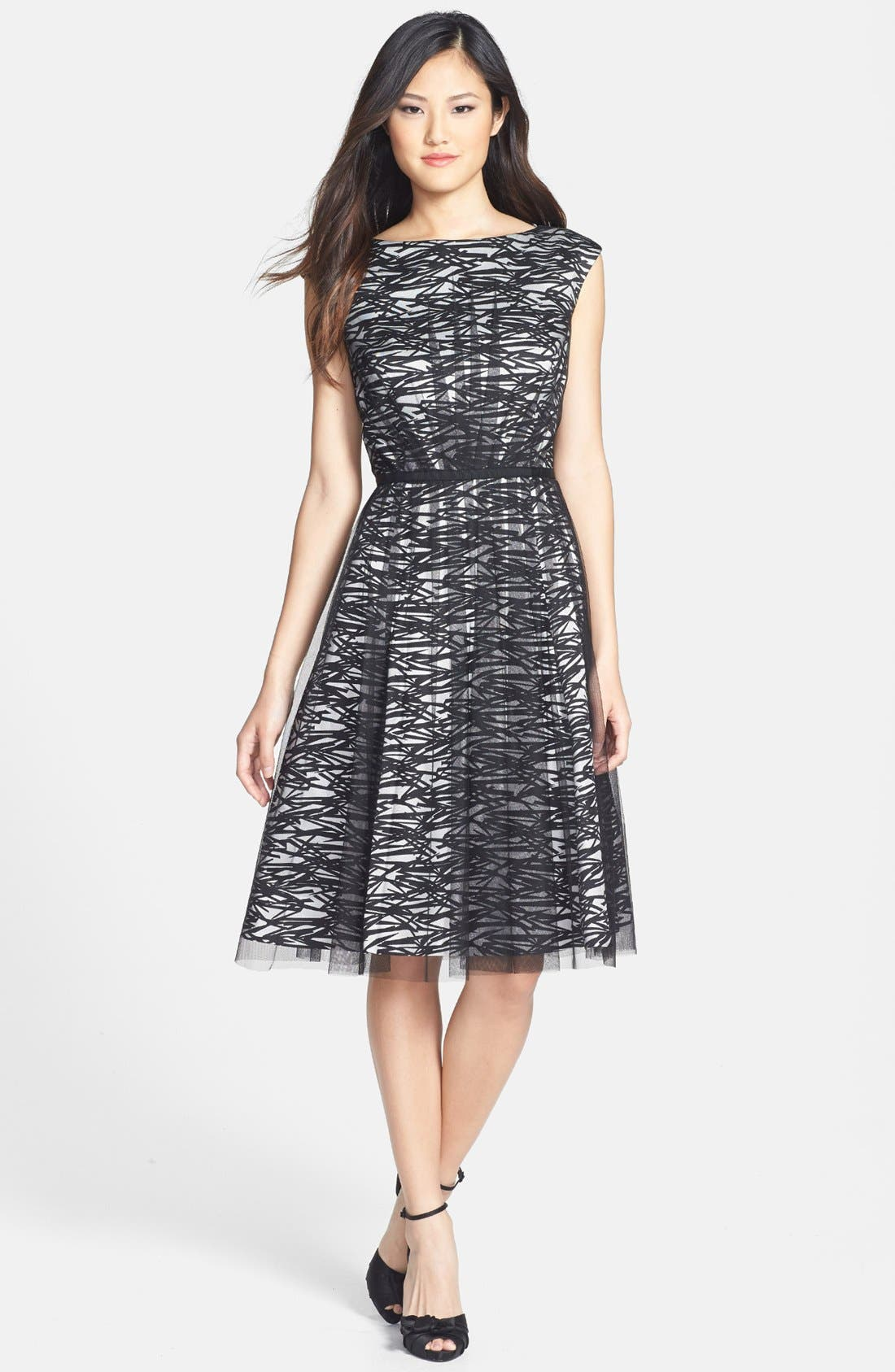 Main Image - Maggy London Mesh Overlay Print Taffeta Fit & Flare Dress (Regular & Petite)