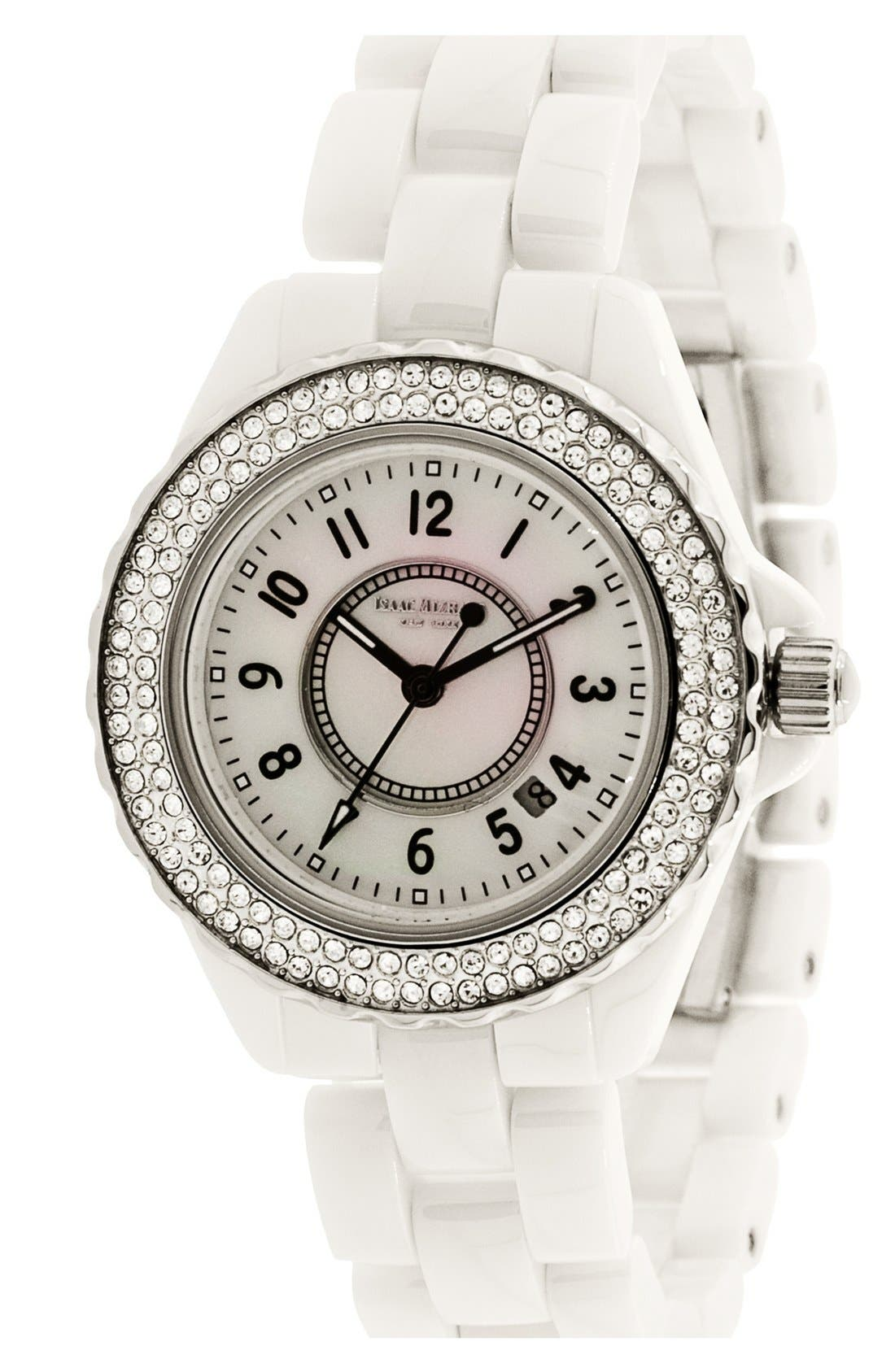 Main Image - Isaac Mizrahi New York Pavé Bezel Ceramic Bracelet Watch, 38mm