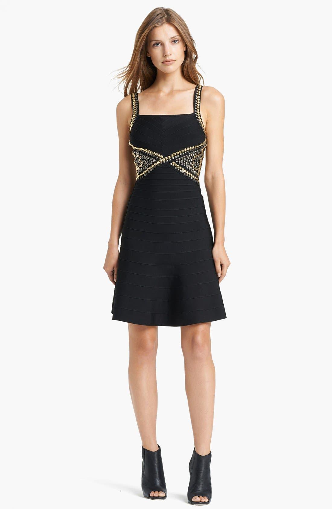 Alternate Image 1 Selected - Herve Leger Embroidered Waist Dress