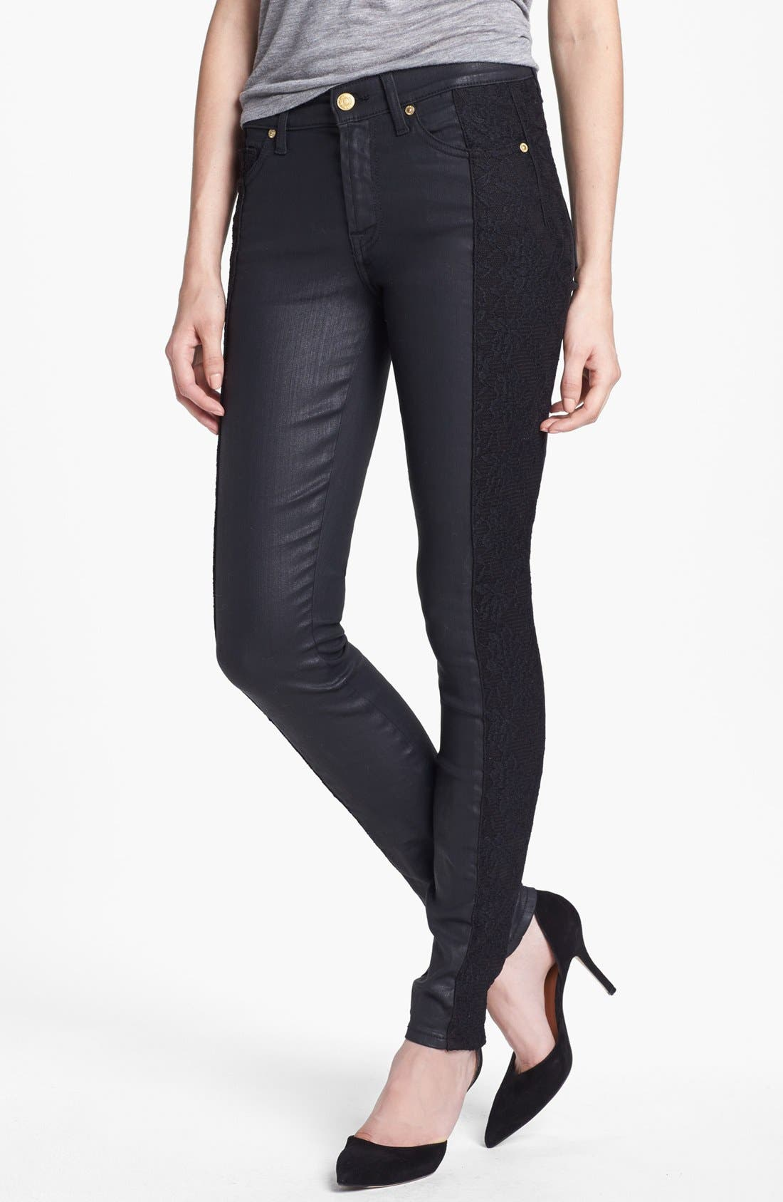 Main Image - 7 For All Mankind® Lace Panel Pieced Coated Skinny Jeans (Black)
