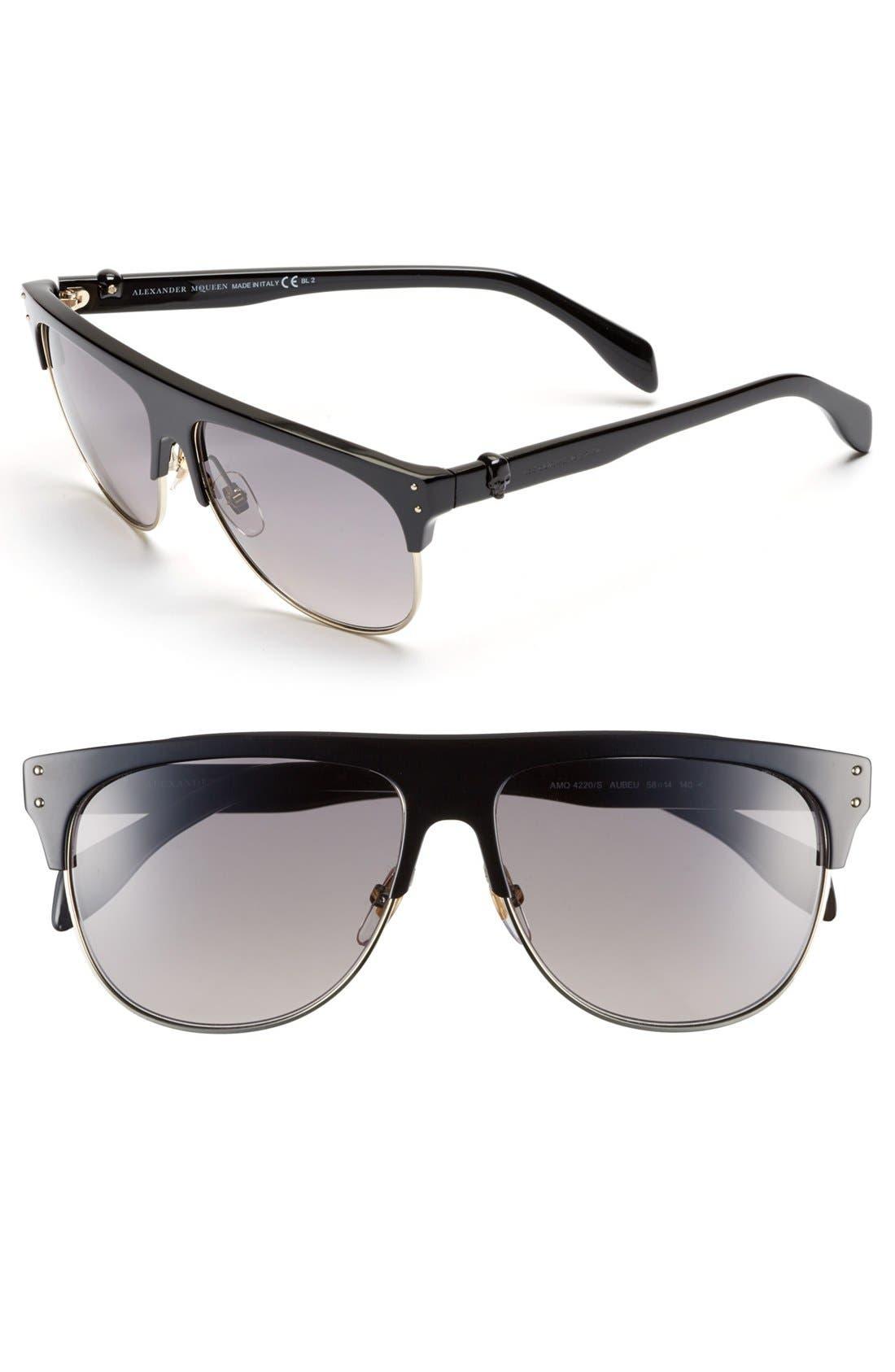 Main Image - Alexander McQueen 58mm Retro Sunglasses
