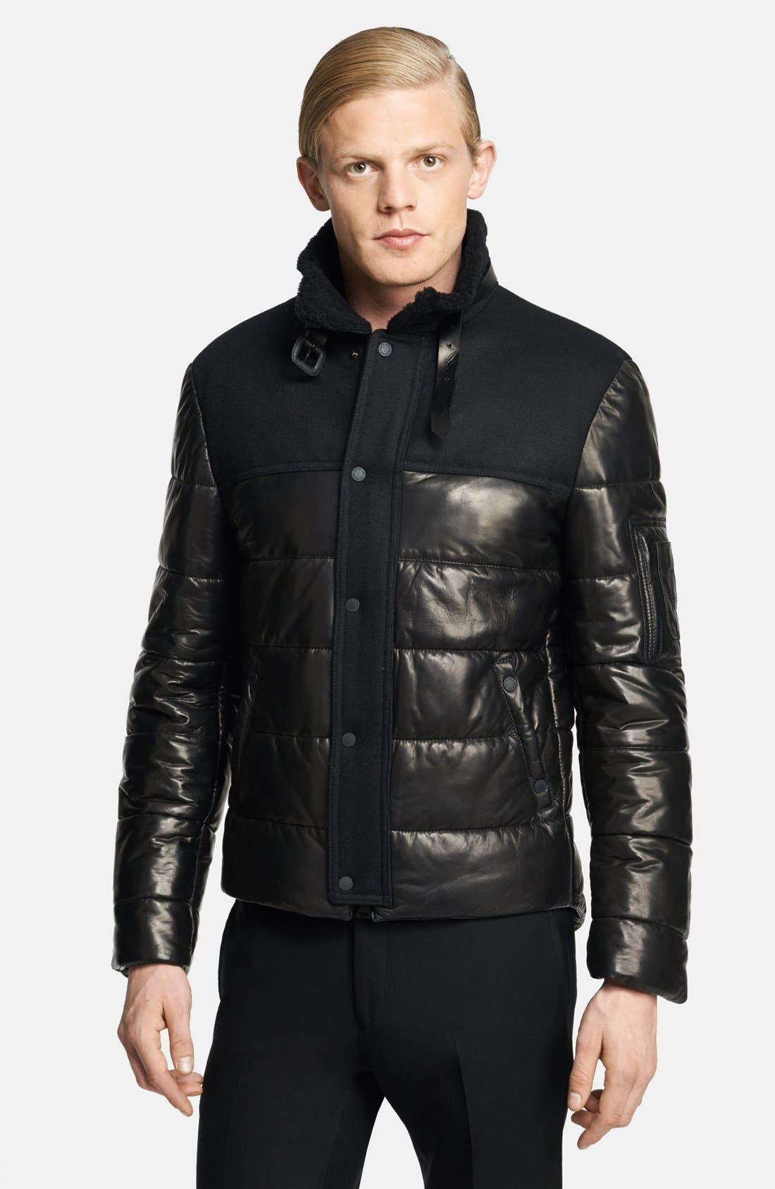 Alternate Image 1 Selected - Neil Barrett Leather Puffer Jacket