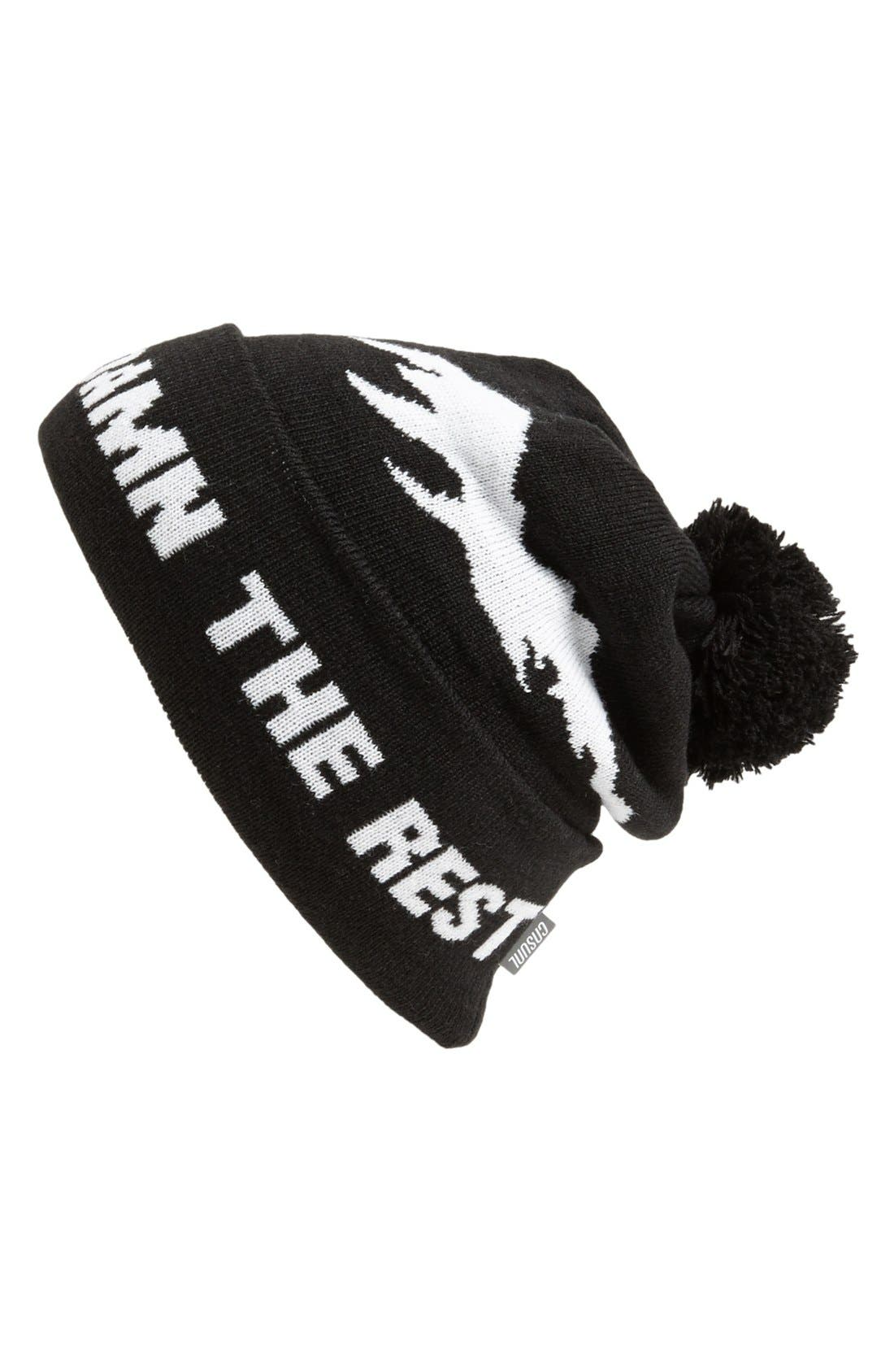 Alternate Image 1 Selected - Casual Industrees Knit Cap with Pompom