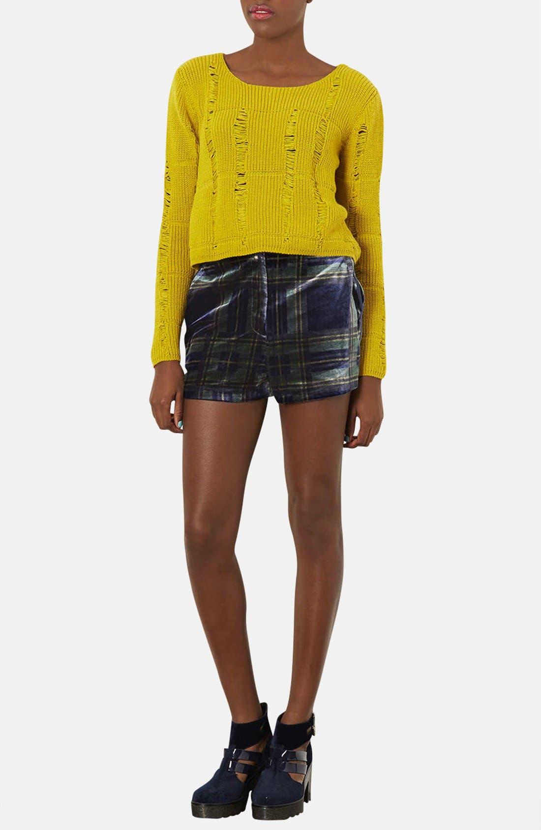 Alternate Image 4  - Topshop Checkered Velvet Shorts