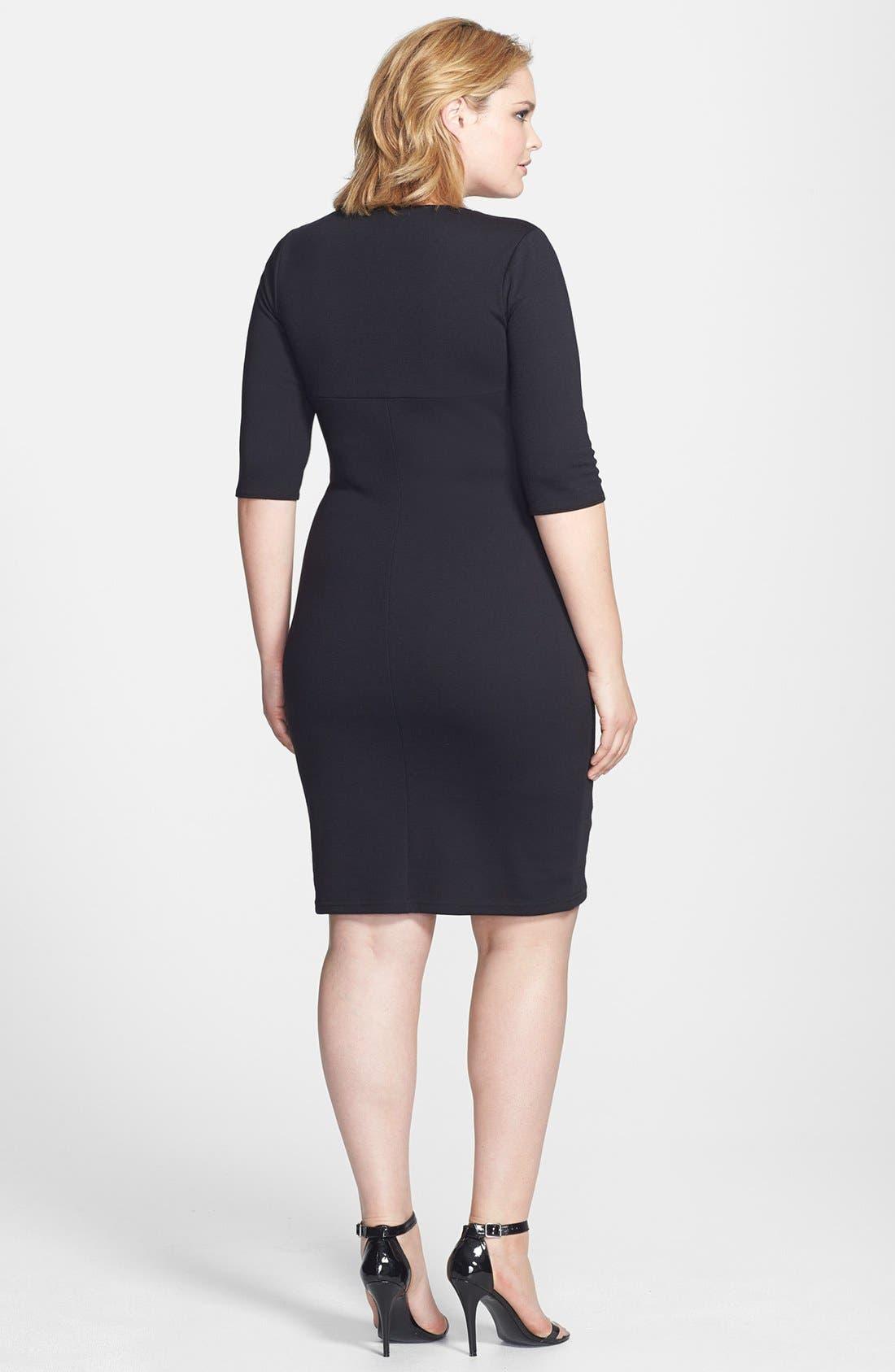 Alternate Image 2  - Scarlett & Jo Colorblock Wrap Front Sheath Dress (Plus Size)