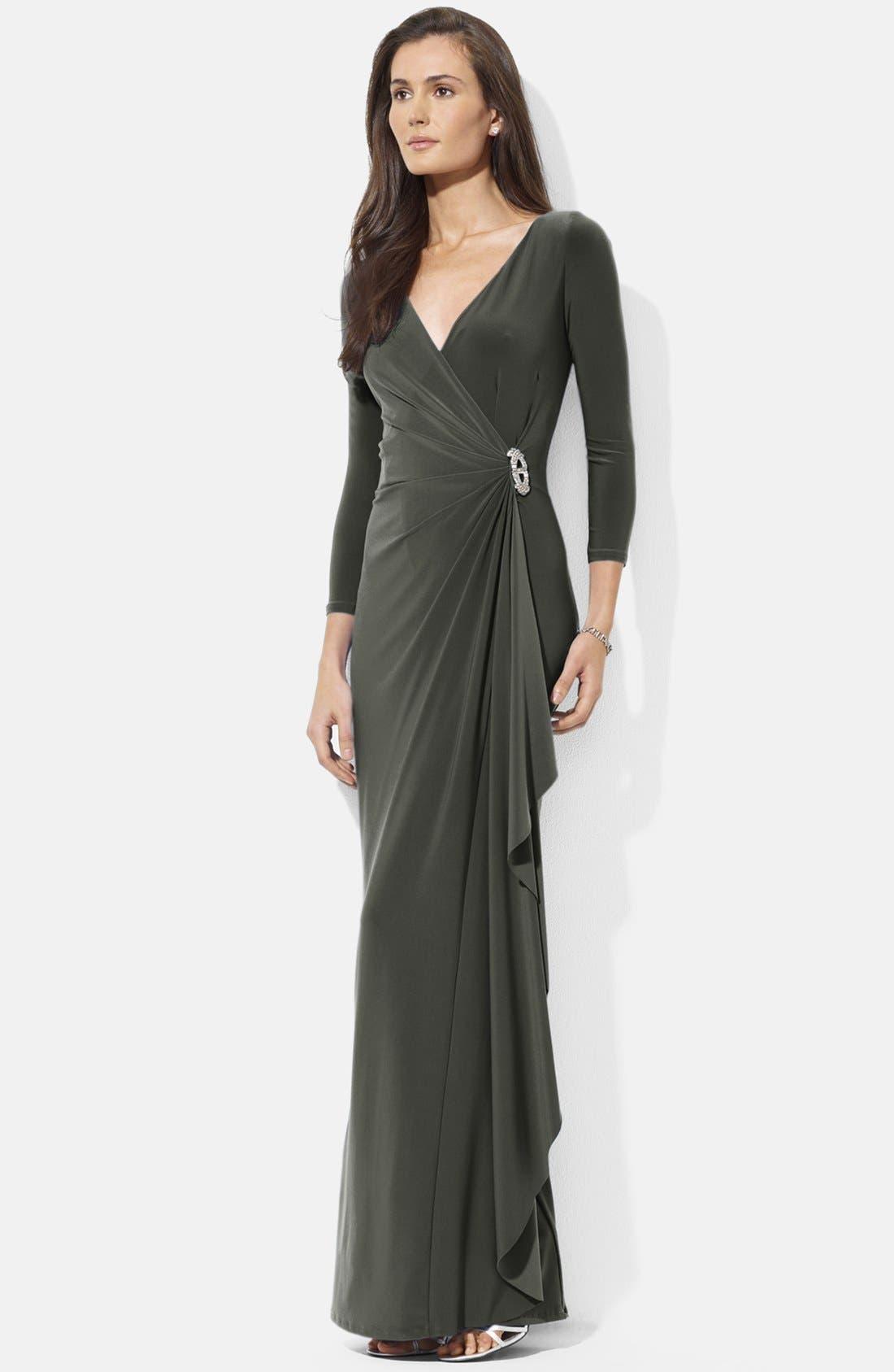Main Image - Lauren Ralph Lauren Satin Ruffled Jersey Gown