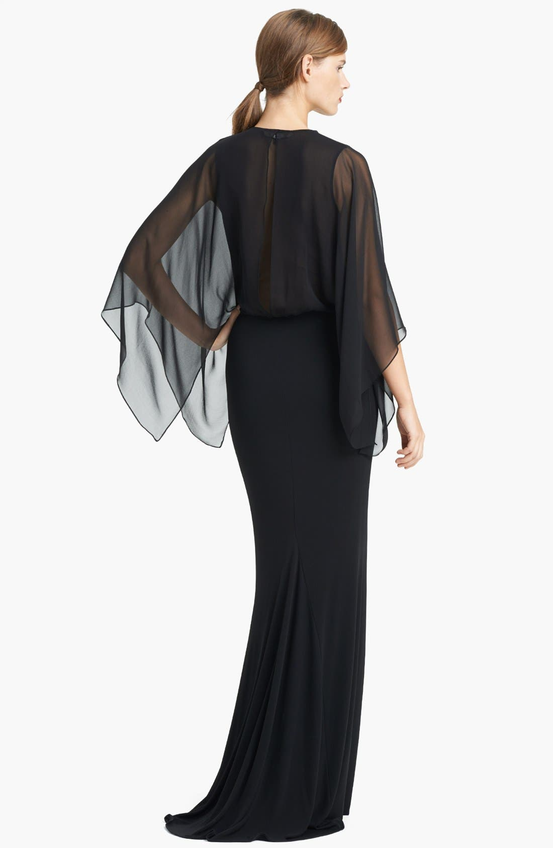 Alternate Image 2  - Lida Baday Chiffon Overlay Matte Jersey Gown