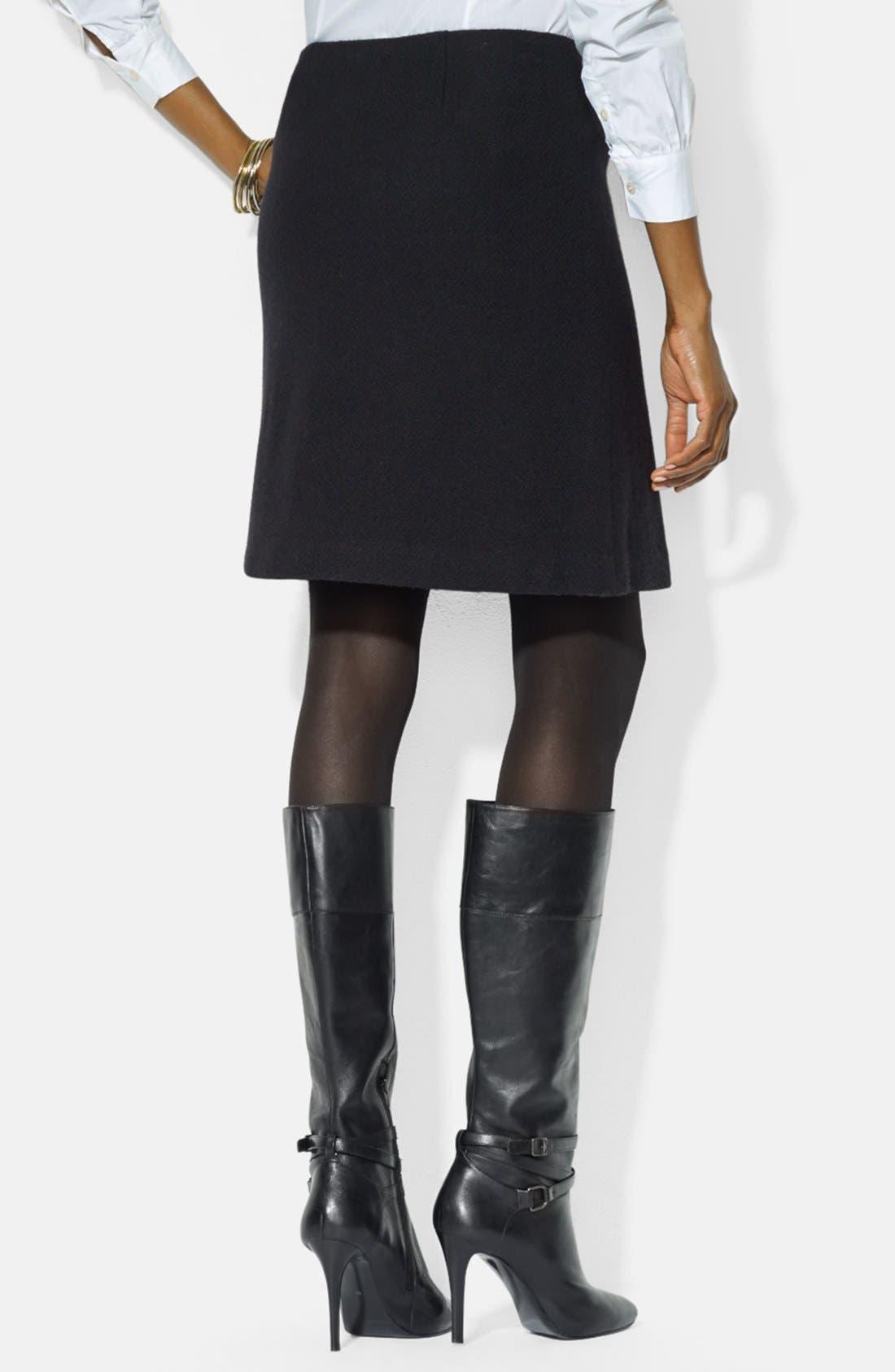 Alternate Image 2  - Lauren Ralph Lauren Leather Trim Pencil Skirt (Petite)