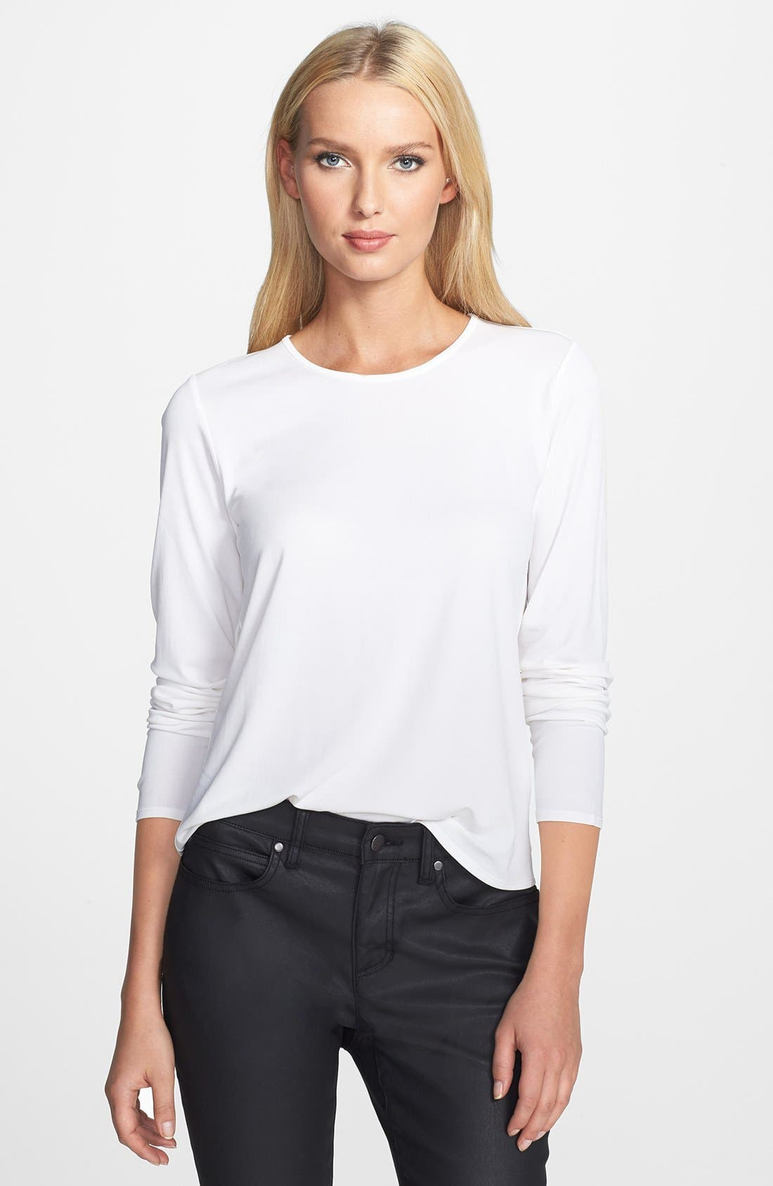 Alternate Image 1 Selected - Eileen Fisher Silk Tee (Regular & Petite)