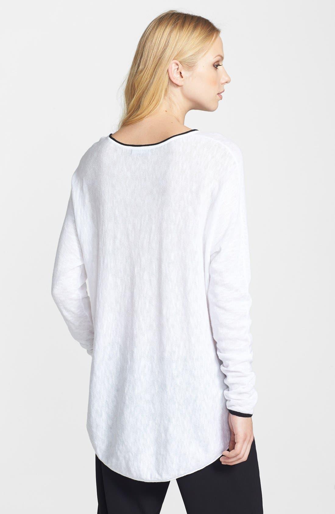 Alternate Image 2  - Vince Contrast Trim V-Neck Slub Sweater