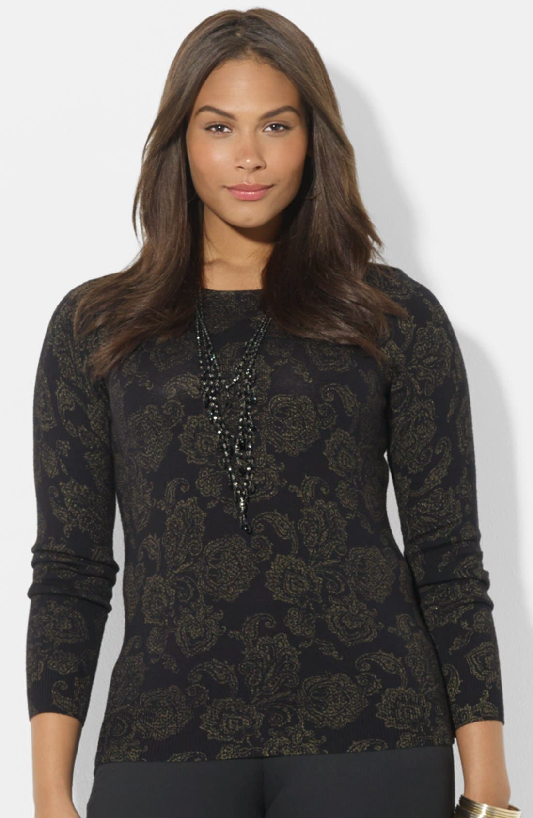 Alternate Image 1 Selected - Lauren Ralph Lauren Print Wool Sweater (Plus Size)