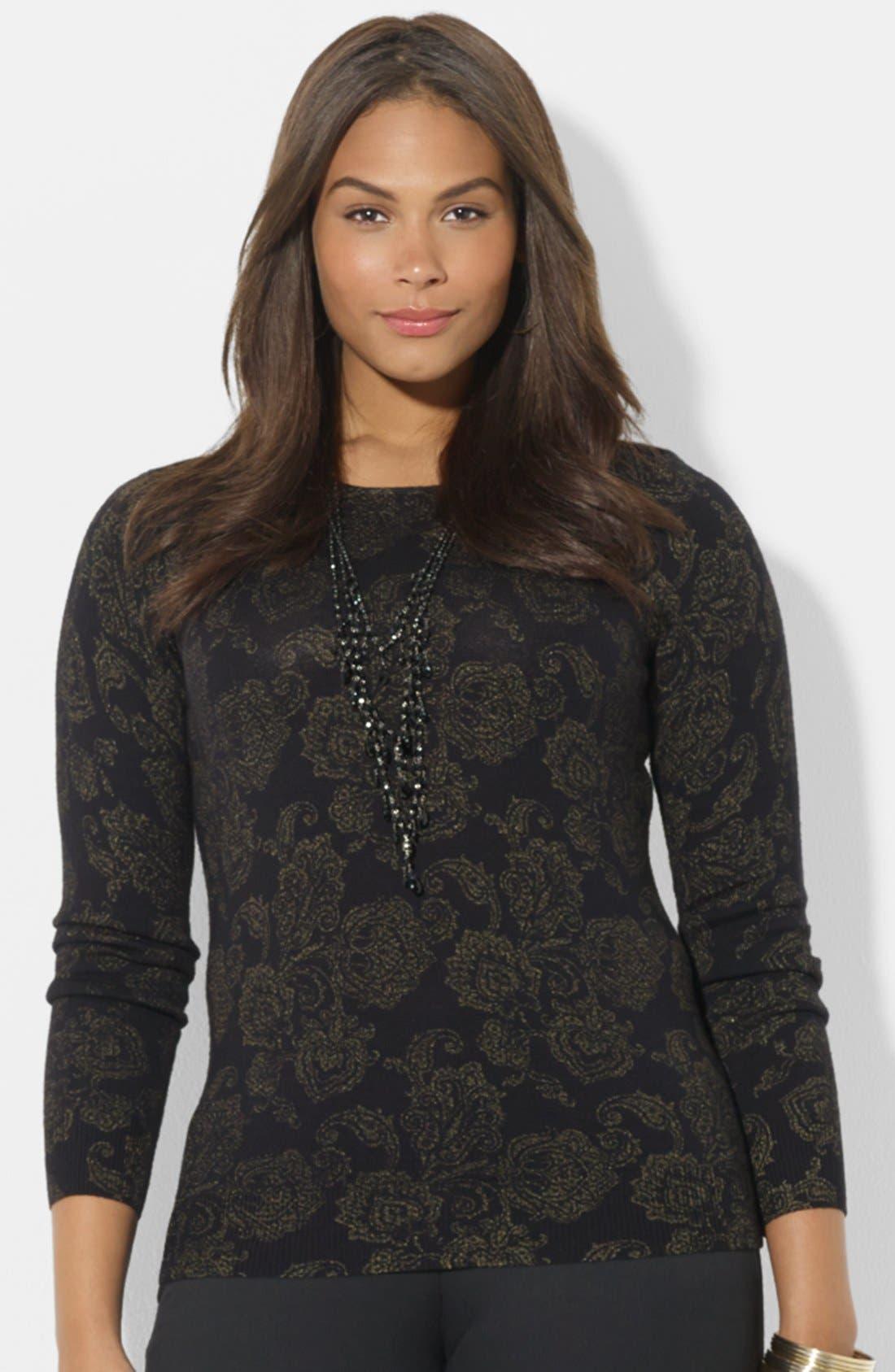 Main Image - Lauren Ralph Lauren Print Wool Sweater (Plus Size)