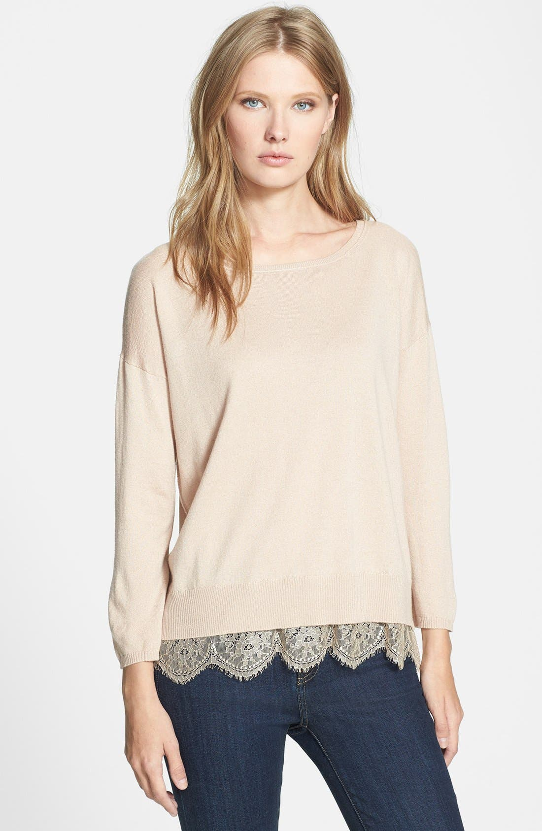 Alternate Image 1 Selected - Joie 'Hilano' Lace Trim Sweater