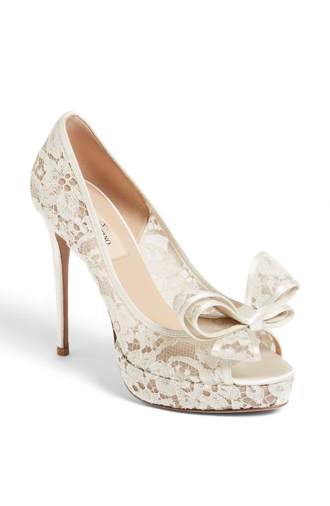 Main Image - Valentino 'Lace Couture Bow' Open Toe Pump