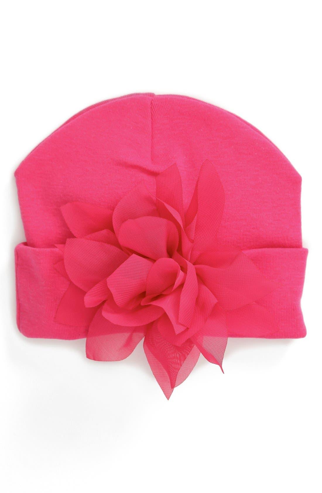 Alternate Image 2  - PLH Bows & Laces Flower Embellished Knit Hat (Baby Girls)
