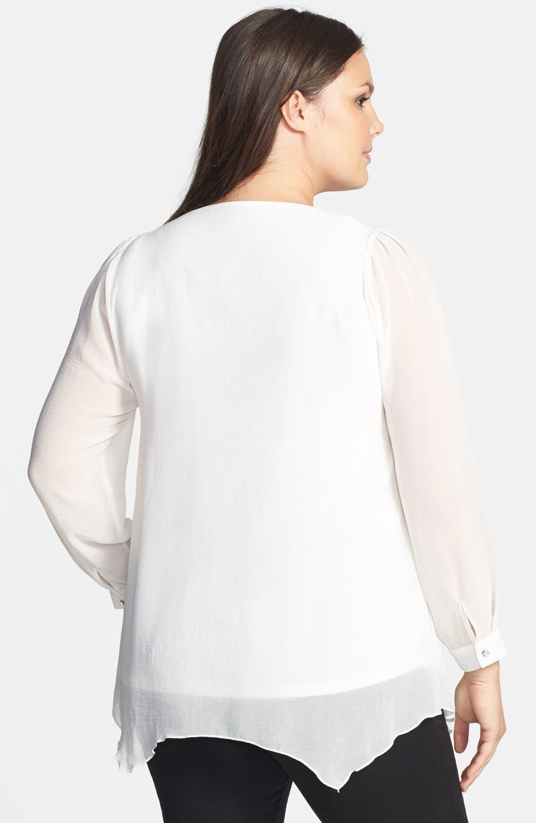 Alternate Image 2  - Evans Embellished Chiffon Blouse (Plus Size)