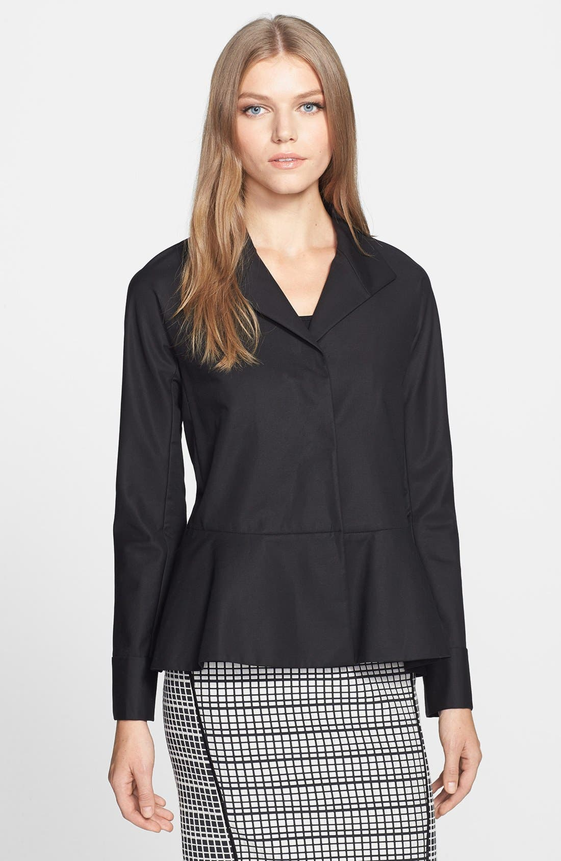 Main Image - Lafayette 148 New York 'Lara' Stretch Cotton Peplum Jacket