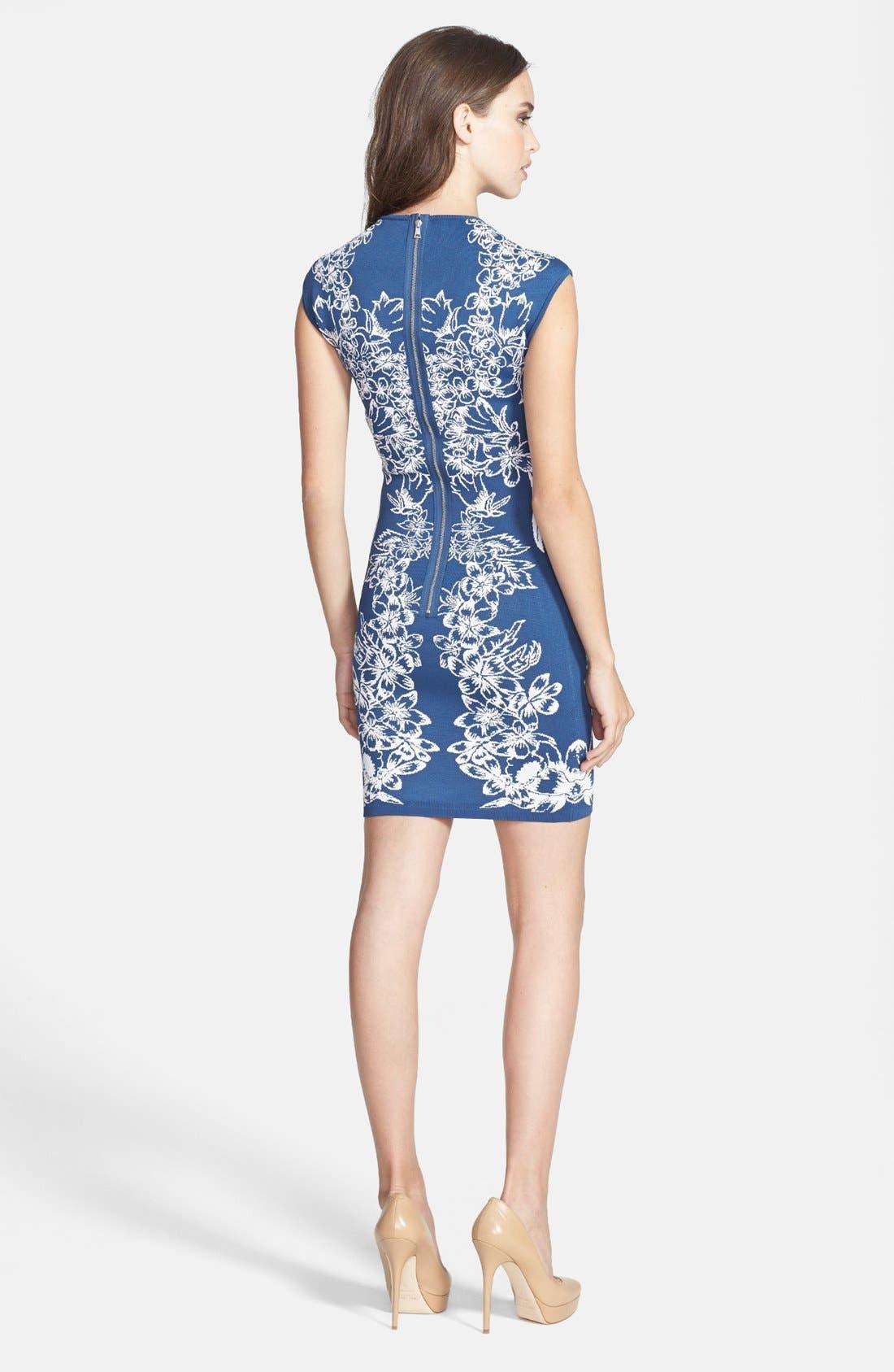 Alternate Image 2  - BCBGMAXAZRIA Floral Jacquard Body-Con Dress