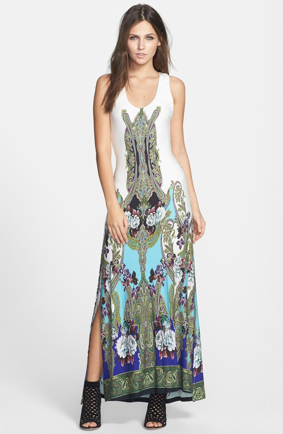 Alternate Image 1 Selected - Sky 'Golubisa' Print Crochet Back Jersey Maxi Dress