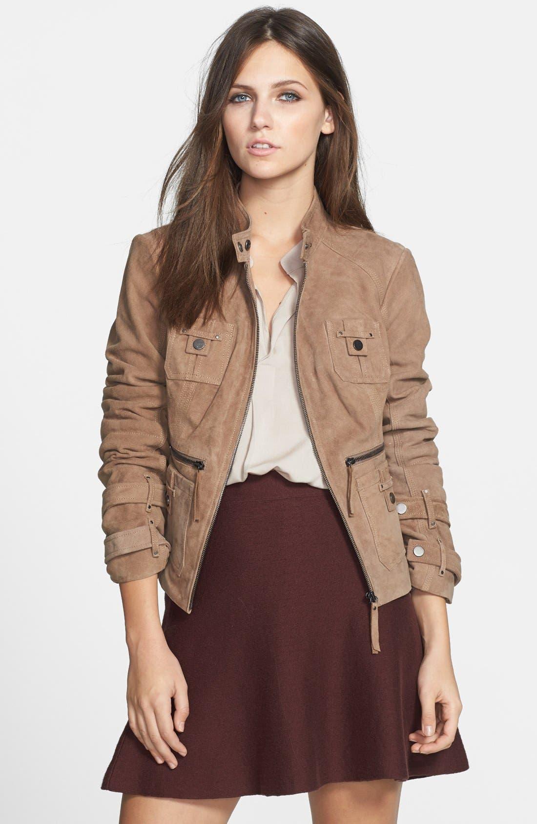 Main Image - Blanc Noir Suede Moto Jacket (Online Only)