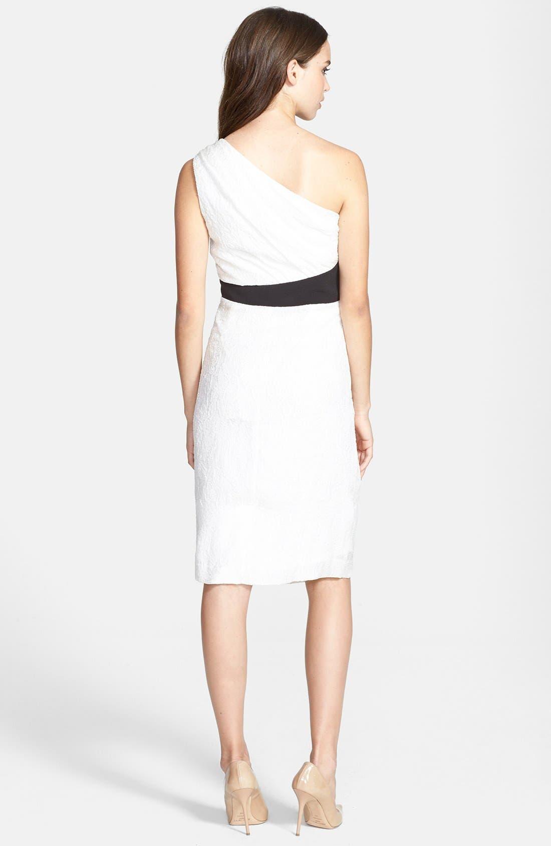 Alternate Image 2  - Vera Wang One-Shoulder Ruffled Jacquard Sheath Dress